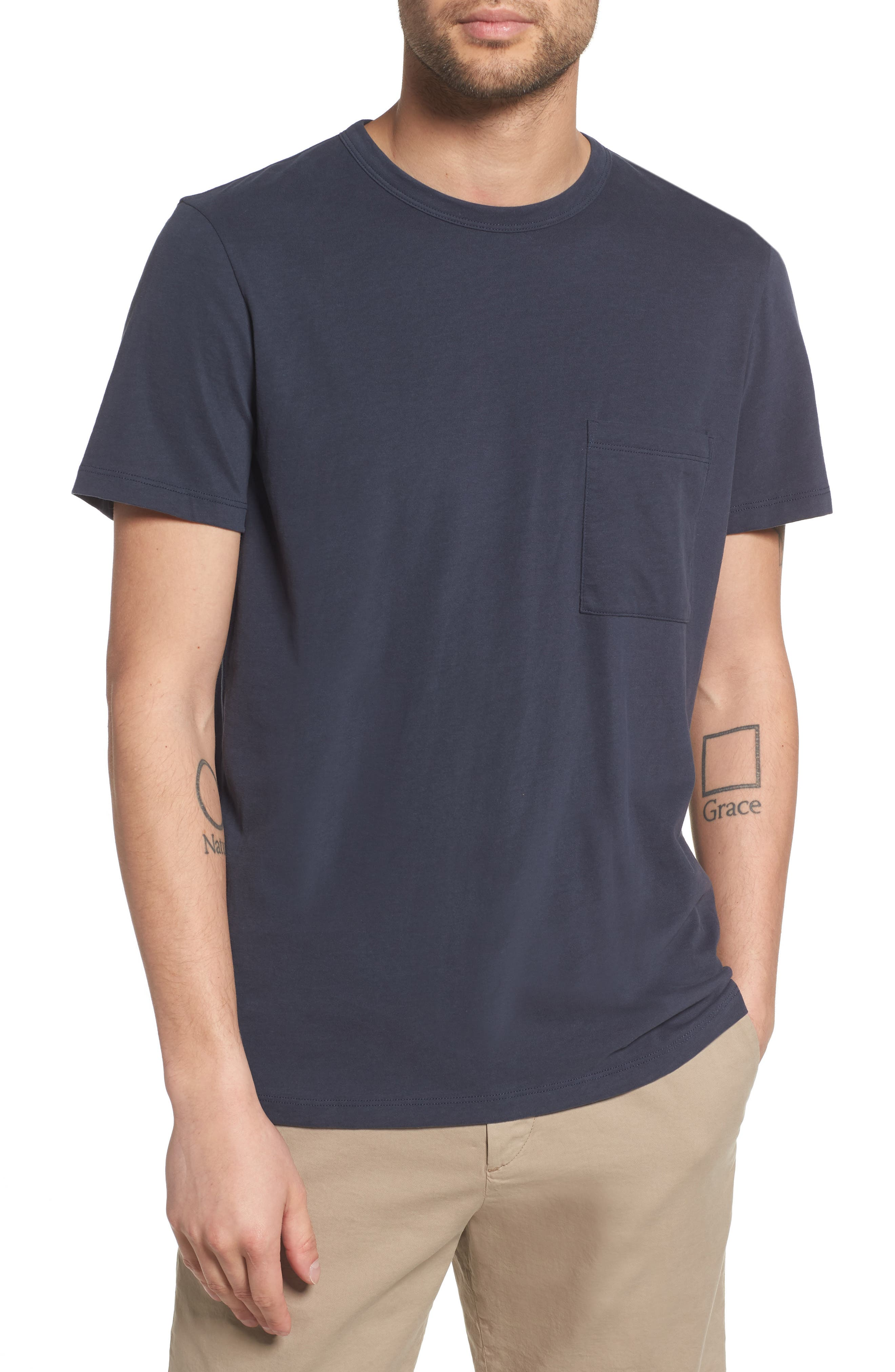 Essential Pocket T-Shirt,                             Main thumbnail 1, color,                             Finch