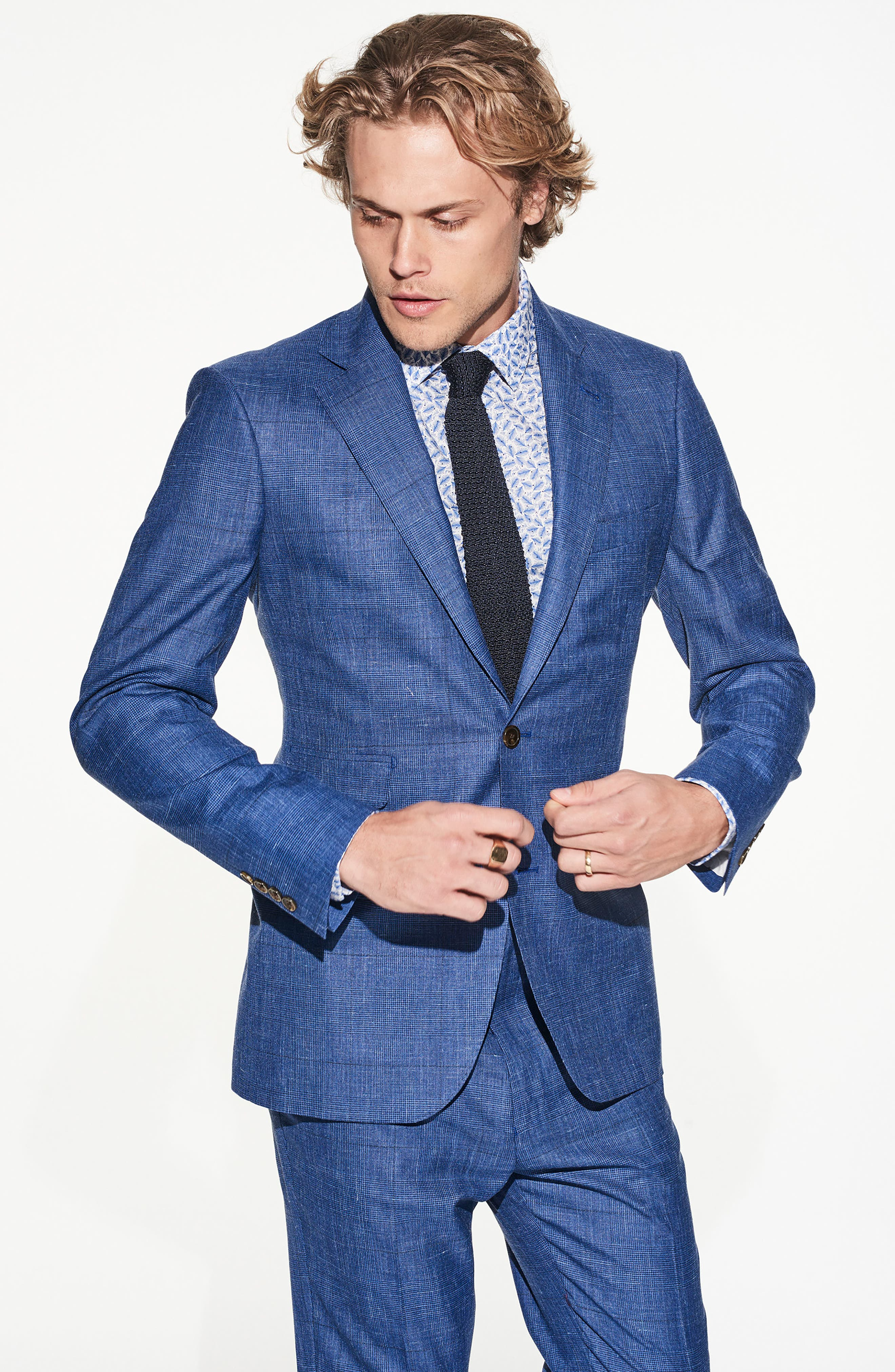 by Ilaria Urbinati Kilgore Slim Fit Plaid Wool Blend Suit,                             Alternate thumbnail 6, color,                             Blue