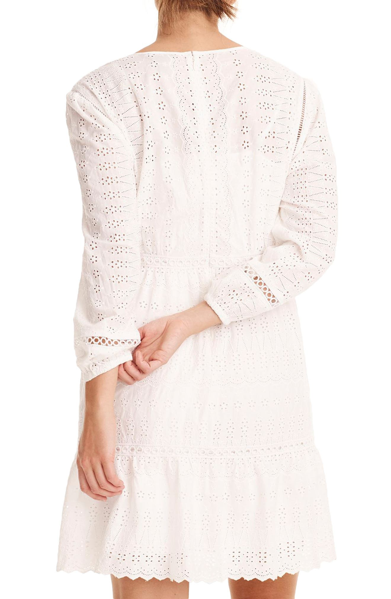 Long Sleeve Embroidered Dress,                             Alternate thumbnail 2, color,                             White