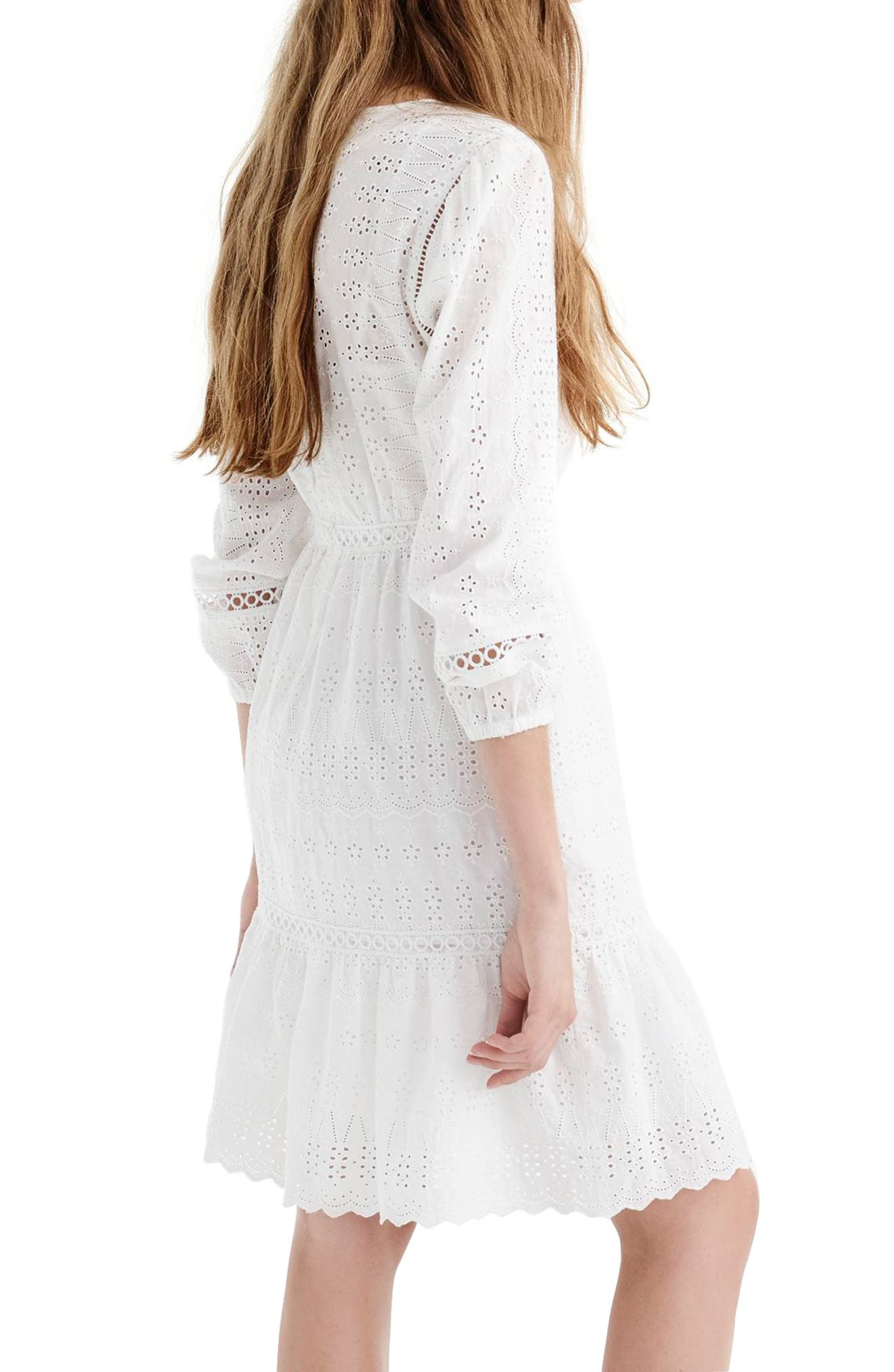 Long Sleeve Embroidered Dress,                             Alternate thumbnail 3, color,                             White