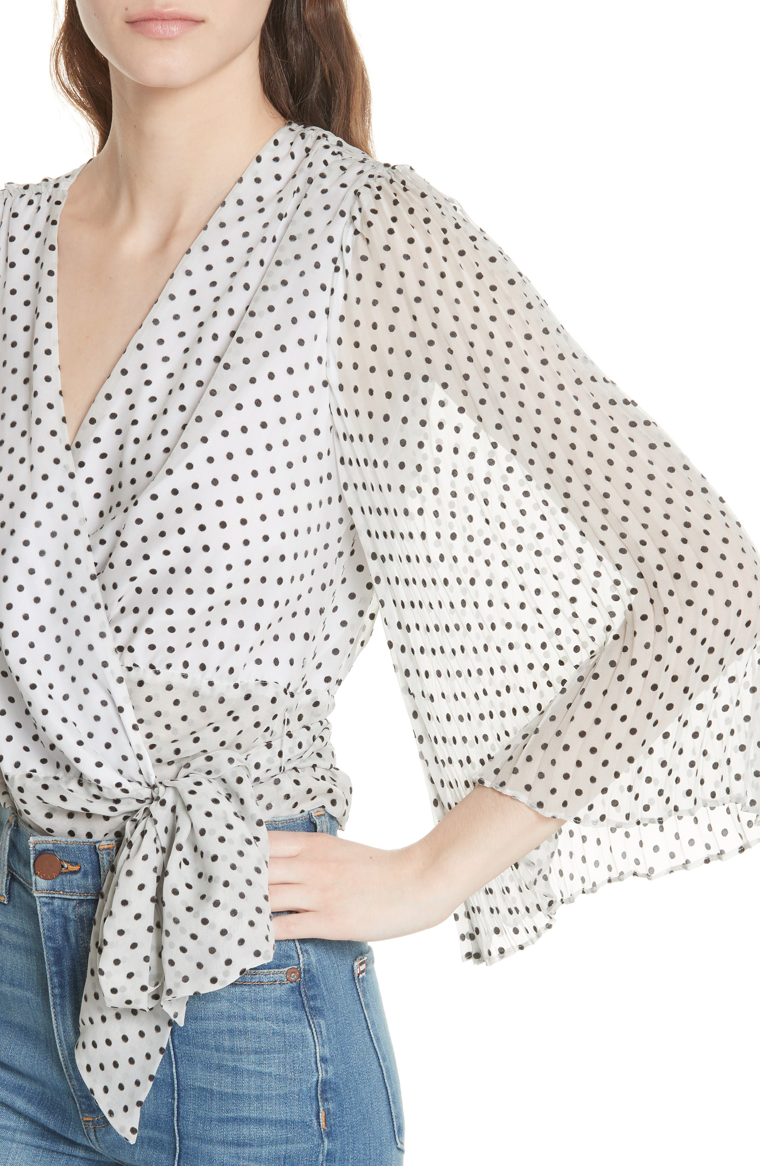 Bray Dot Pleated Sleeve Wrap Top,                             Alternate thumbnail 4, color,                             Soft White Mono Dot