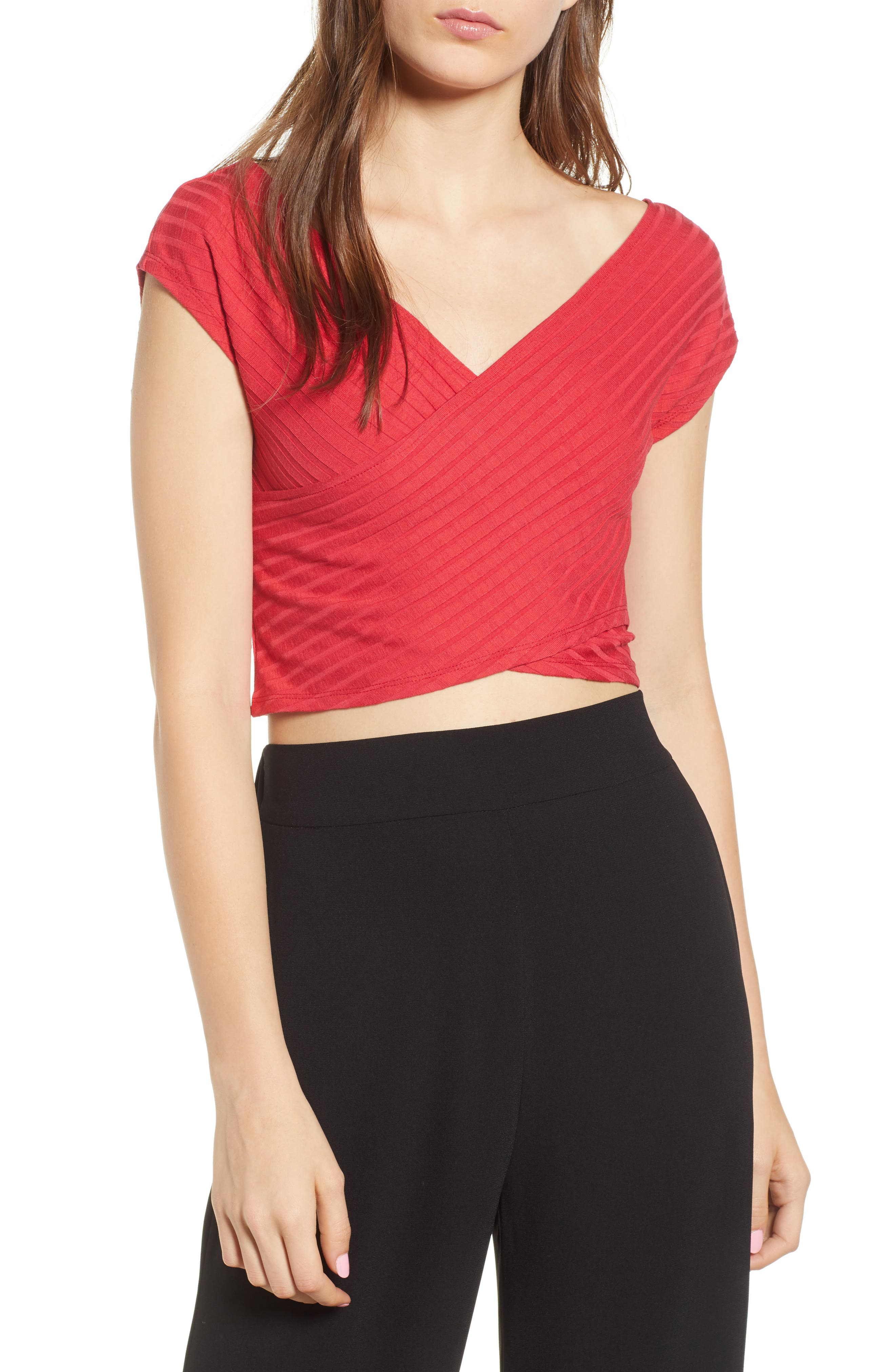 Ribbed Wrap Crop Top,                         Main,                         color, Red