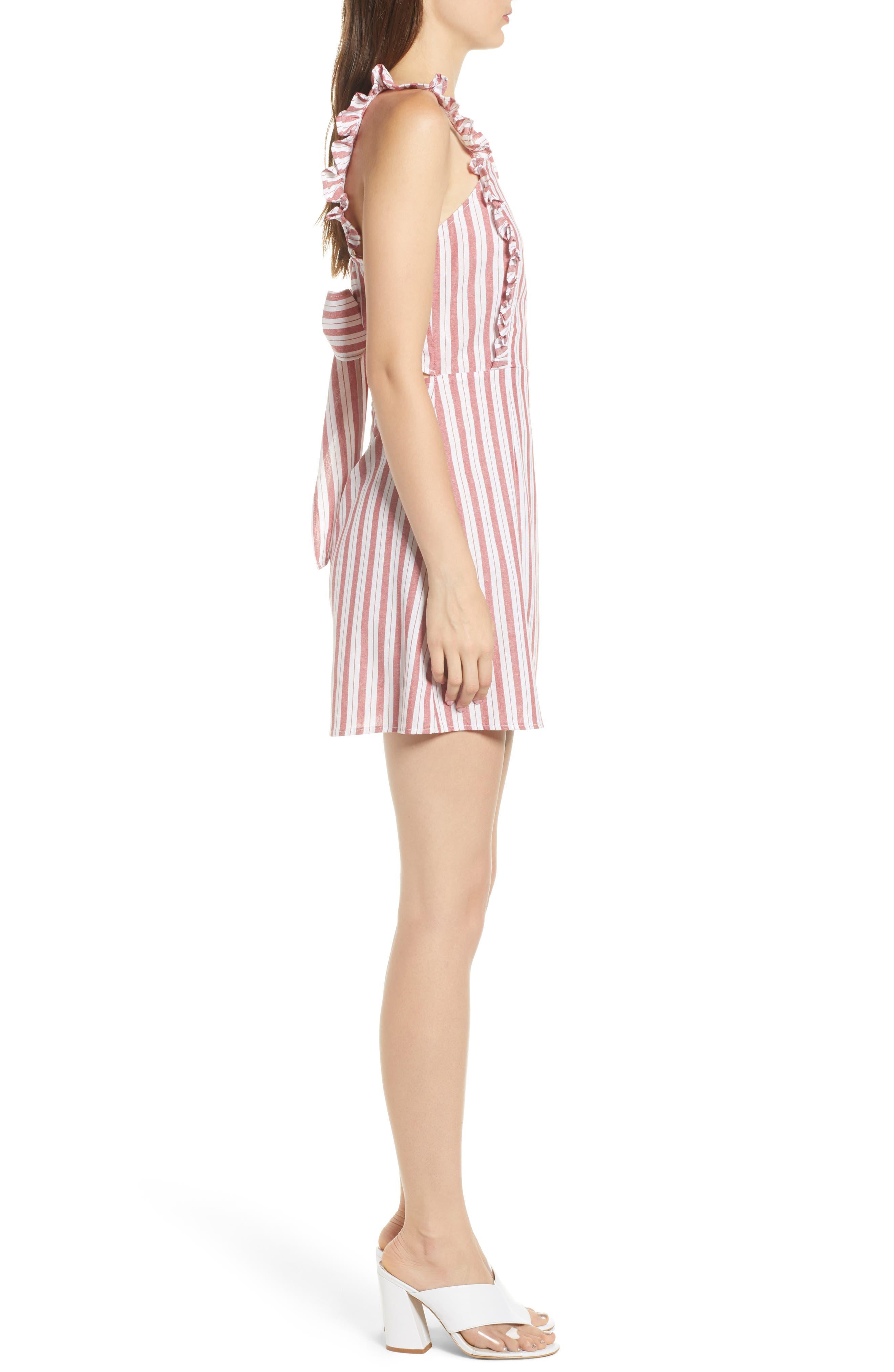 Acacia Stripe Ruffle Dress,                             Alternate thumbnail 4, color,                             White W Red