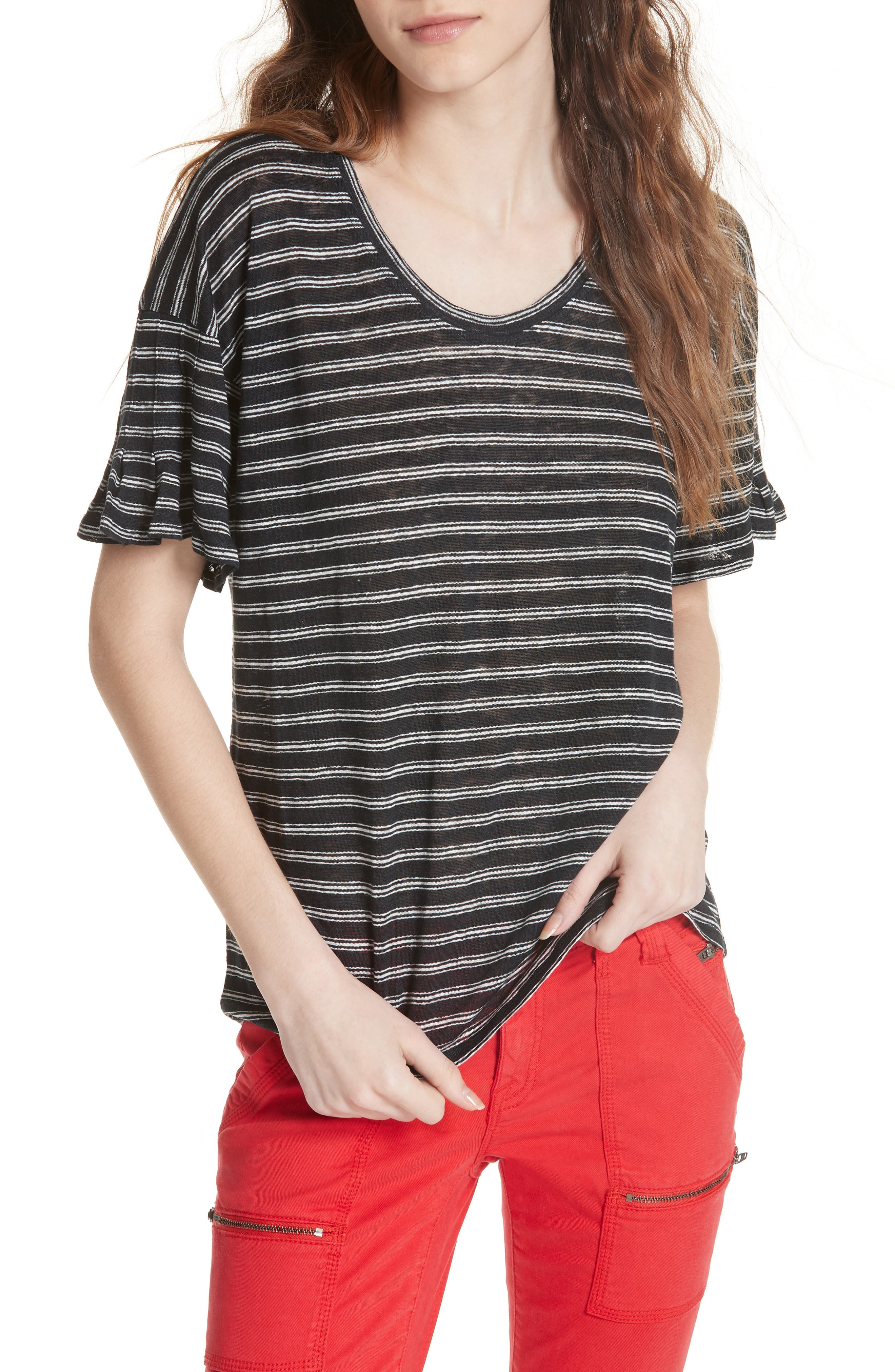 Adaira Stripe Linen Tee,                             Main thumbnail 1, color,                             Caviar/ Porcelain