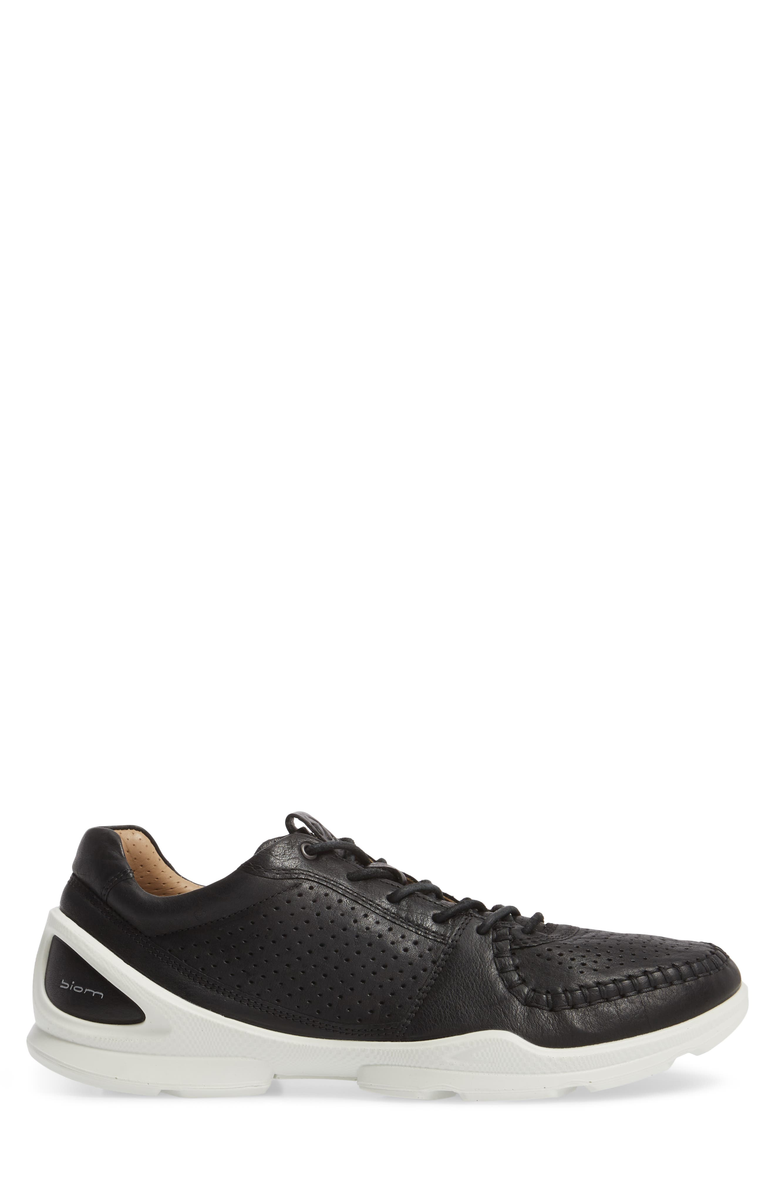 BIOM Street Moc Toe Sneaker,                             Alternate thumbnail 3, color,                             Black Leather
