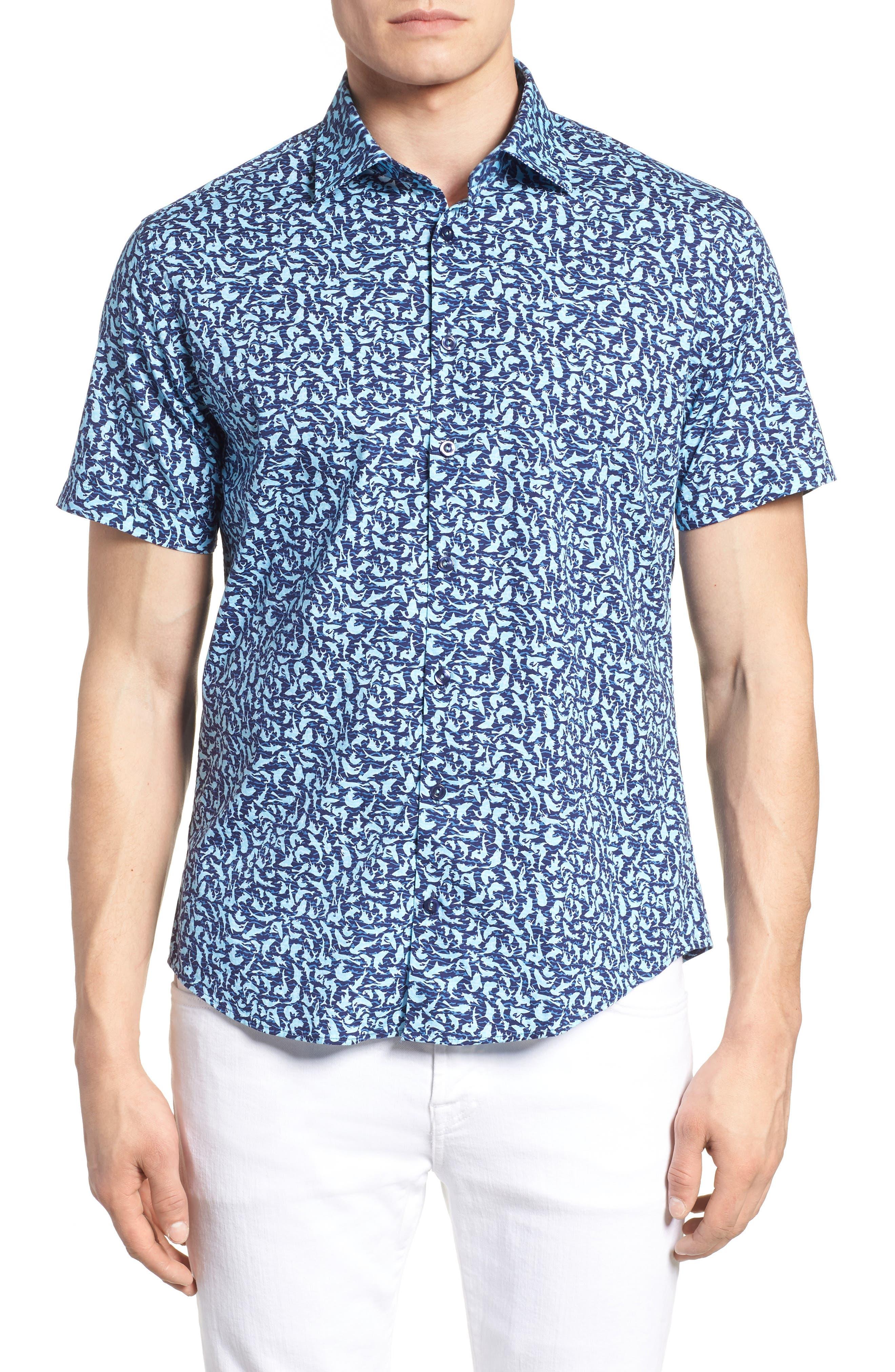 Slim Fit Shark Print Sport Shirt,                             Main thumbnail 1, color,                             Turquoise