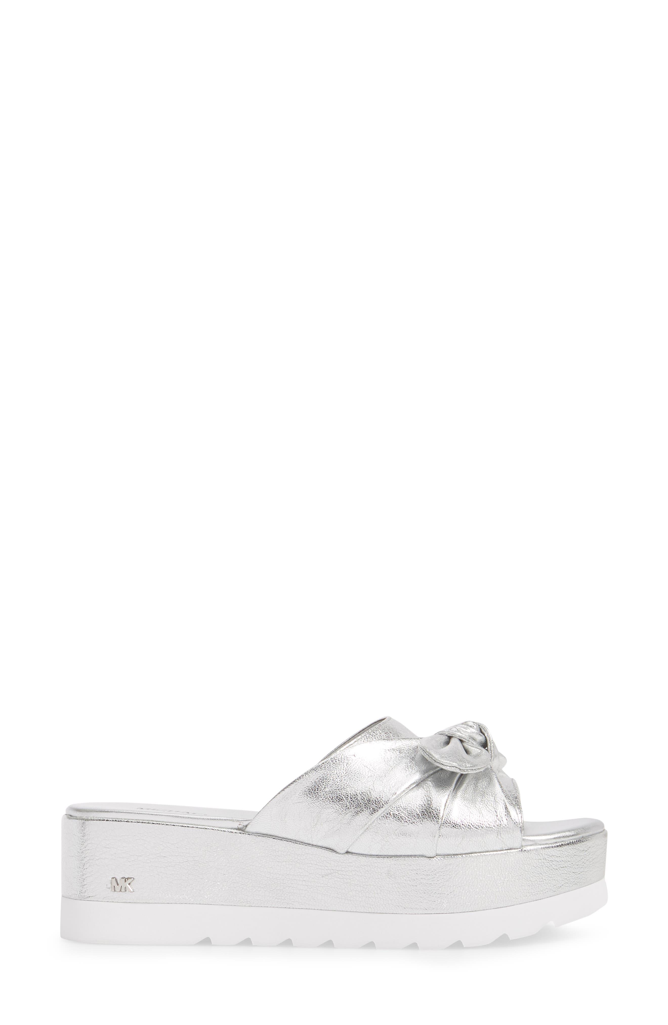 Pippa Platform Slide Sandal,                             Alternate thumbnail 3, color,                             Silver