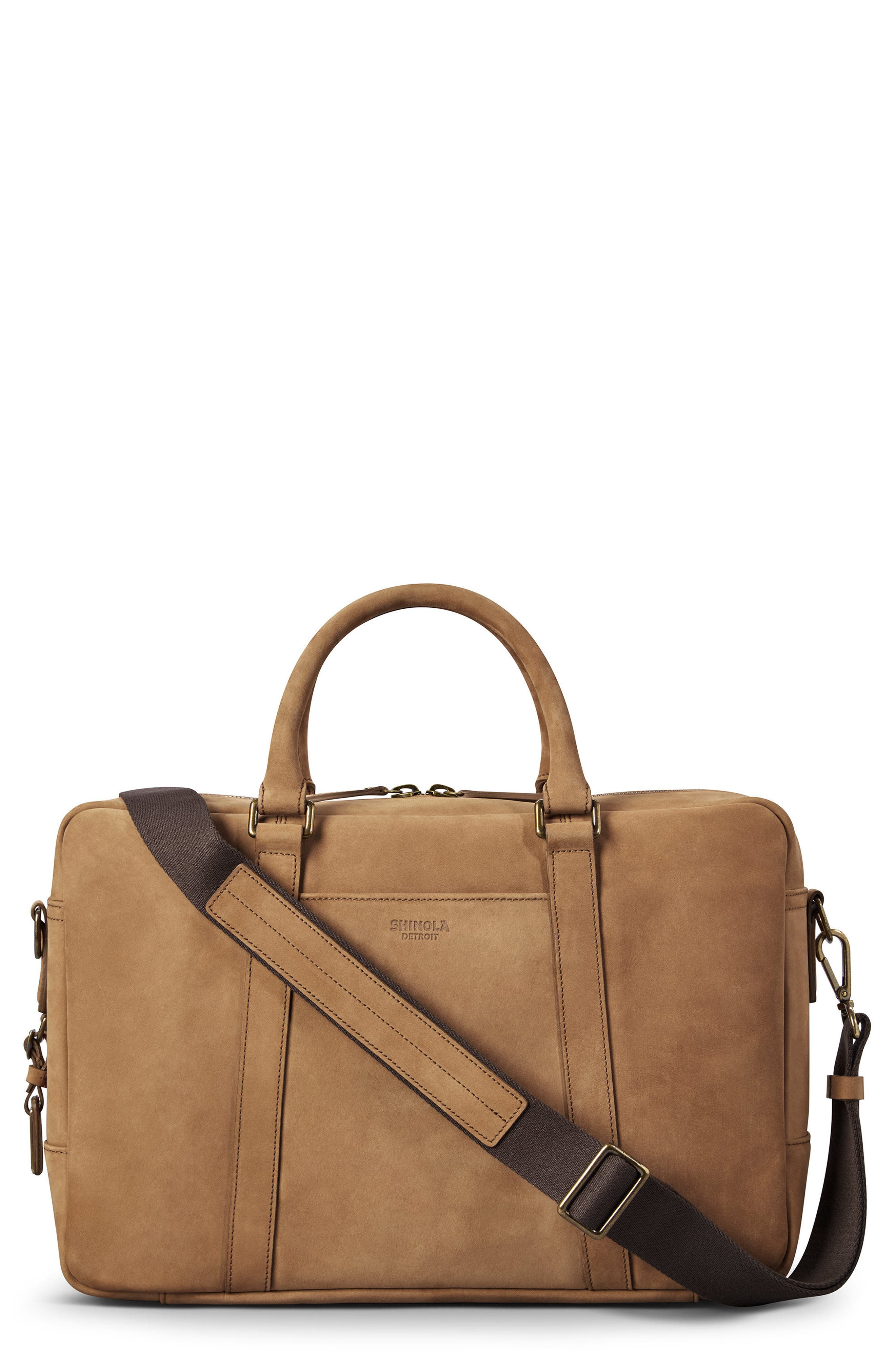 SHINOLA Men'S Outrigger Slim Leather Laptop Briefcase in Light Brown