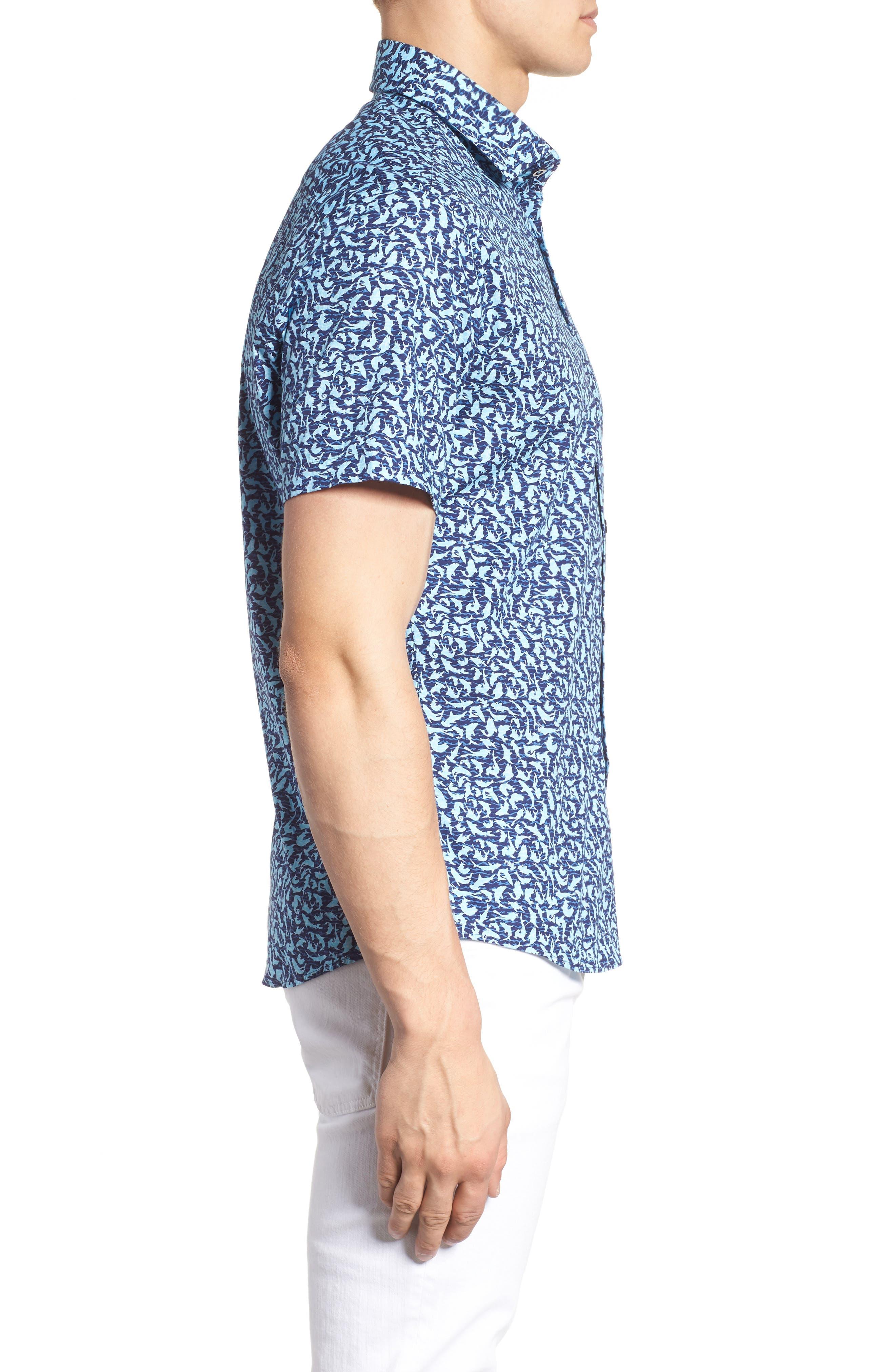 Slim Fit Shark Print Sport Shirt,                             Alternate thumbnail 4, color,                             Turquoise