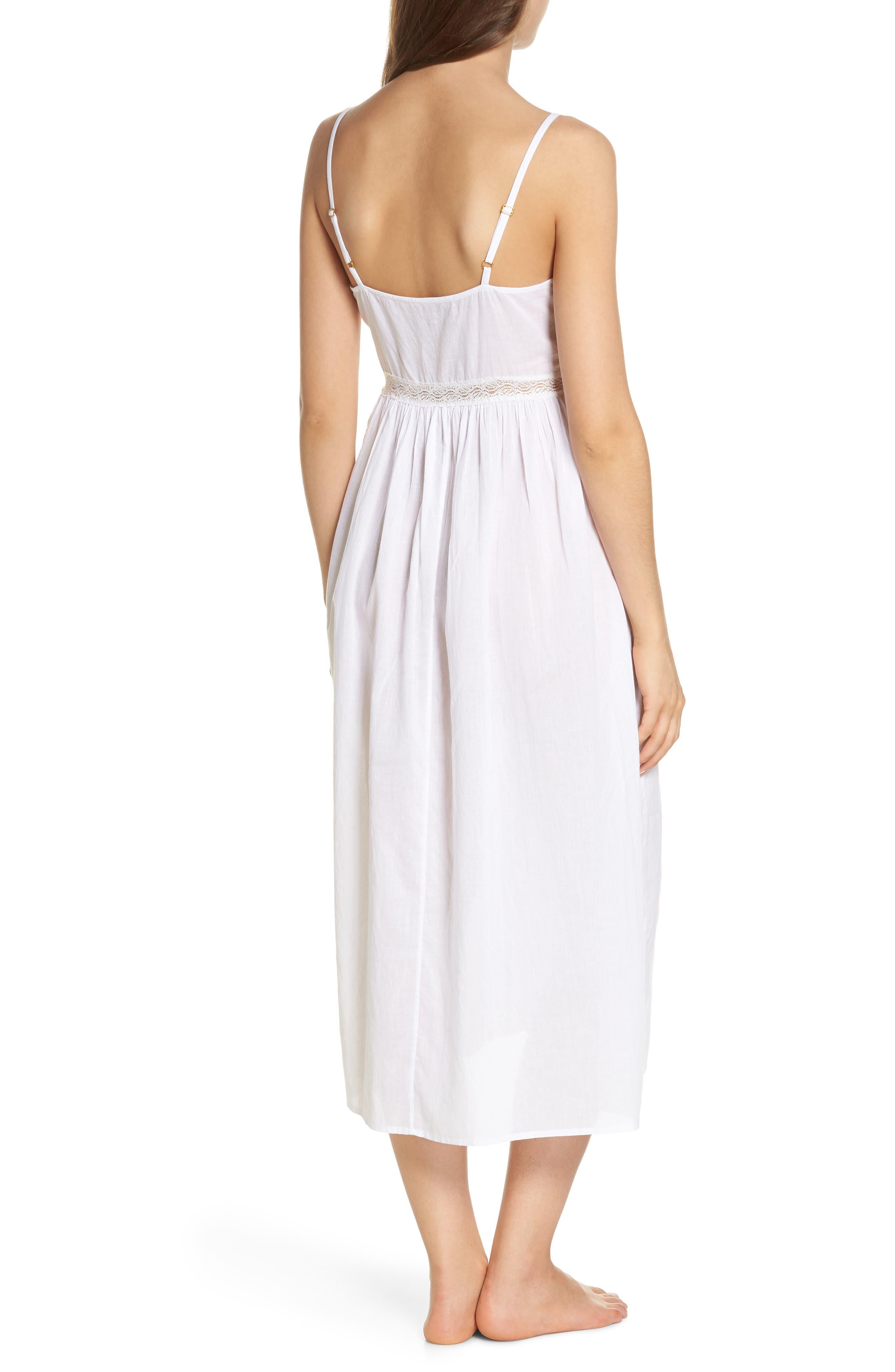 Lace Trim Nightgown,                             Alternate thumbnail 2, color,                             White