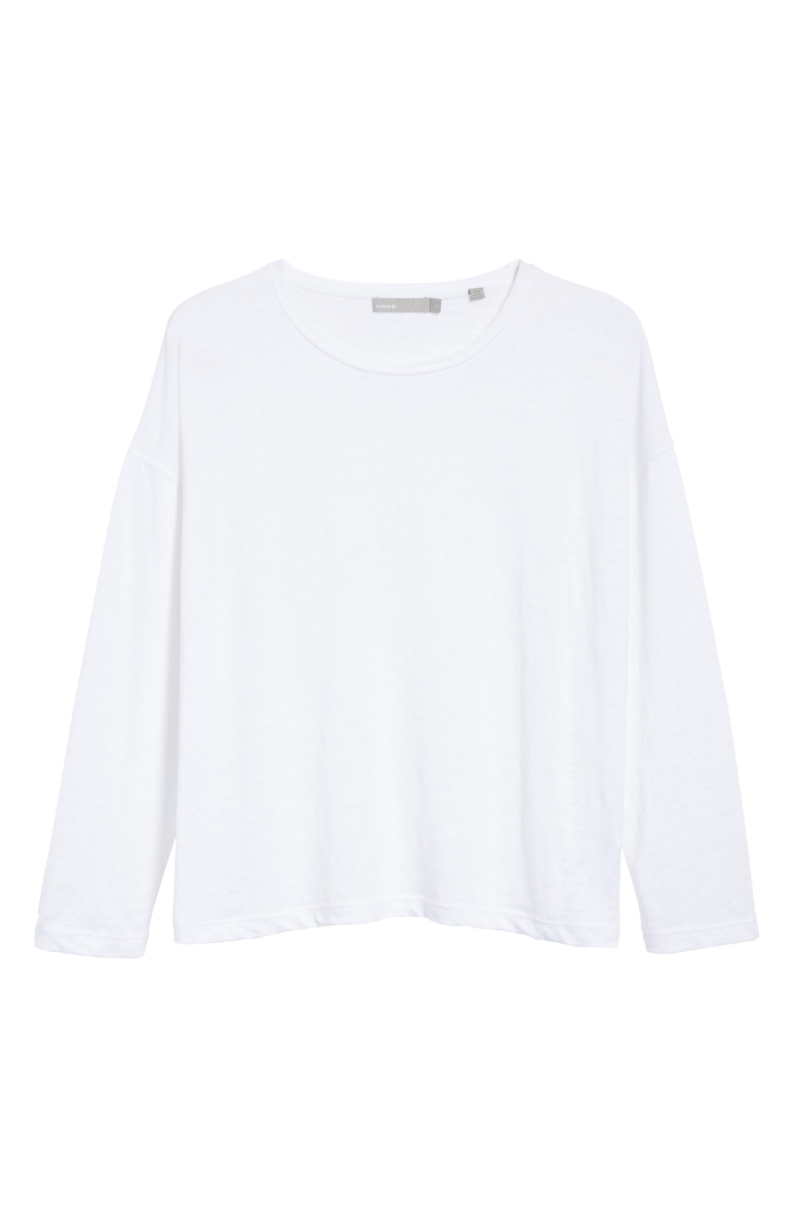 Shrunken Linen Long Sleeve Top,                             Alternate thumbnail 6, color,                             Optic White