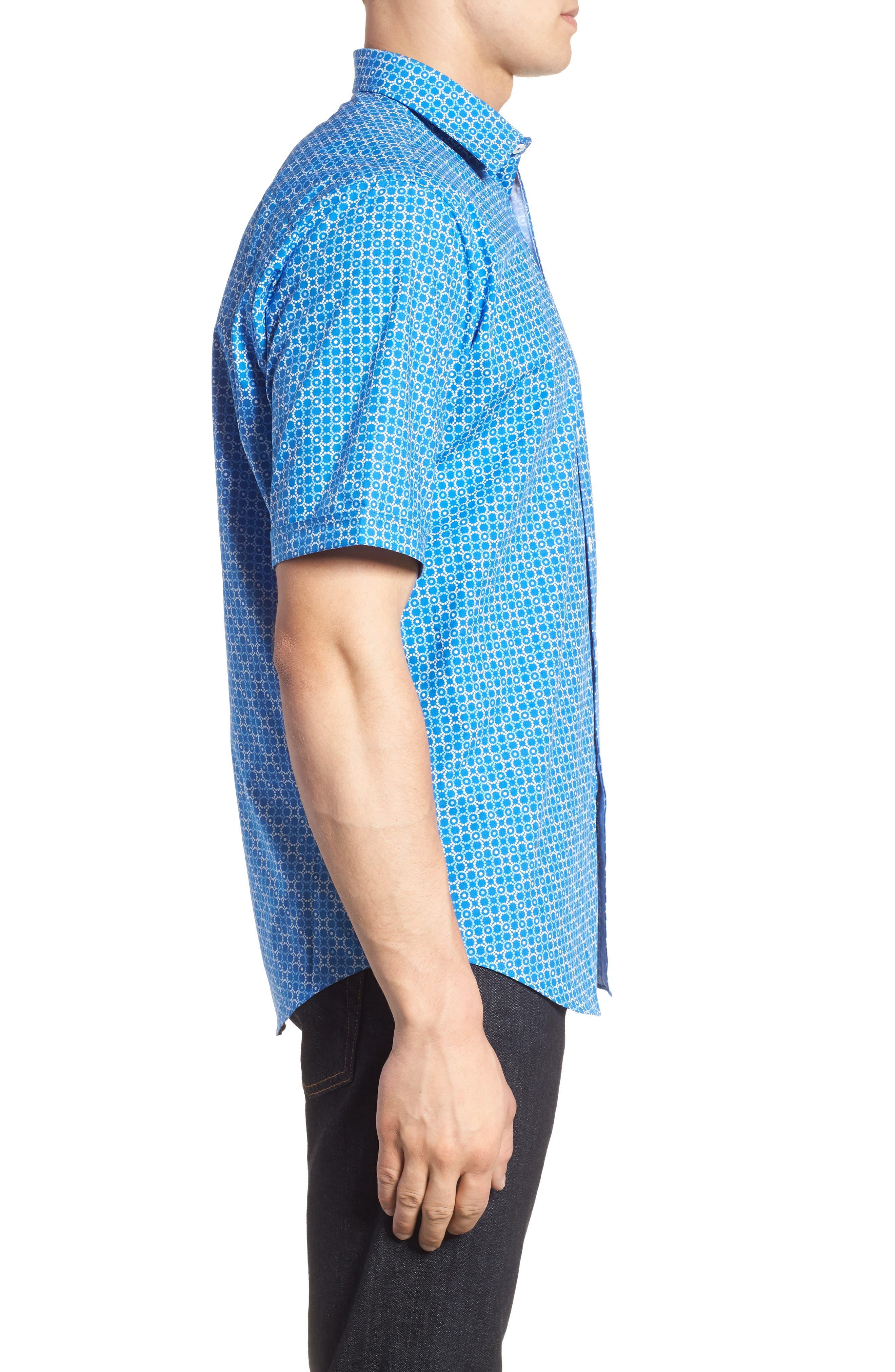 Classic Fit Circle Grid Sport Shirt,                             Alternate thumbnail 3, color,                             Classic Blue