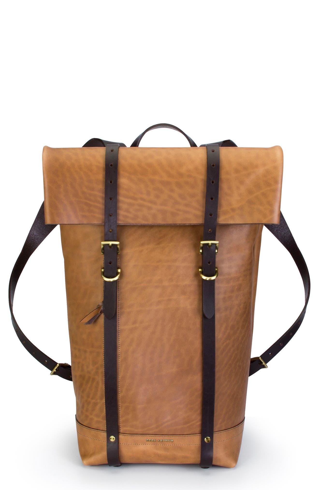Keystone Brass Detail Leather Rucksack,                         Main,                         color, Whiskey / Brass