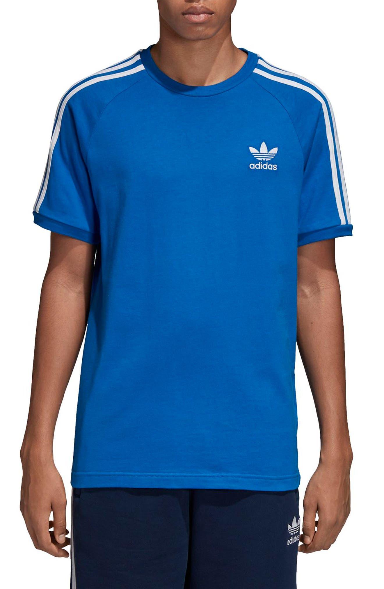 adidas 3-Stripes T-Shirt,                             Main thumbnail 1, color,                             Bluebird