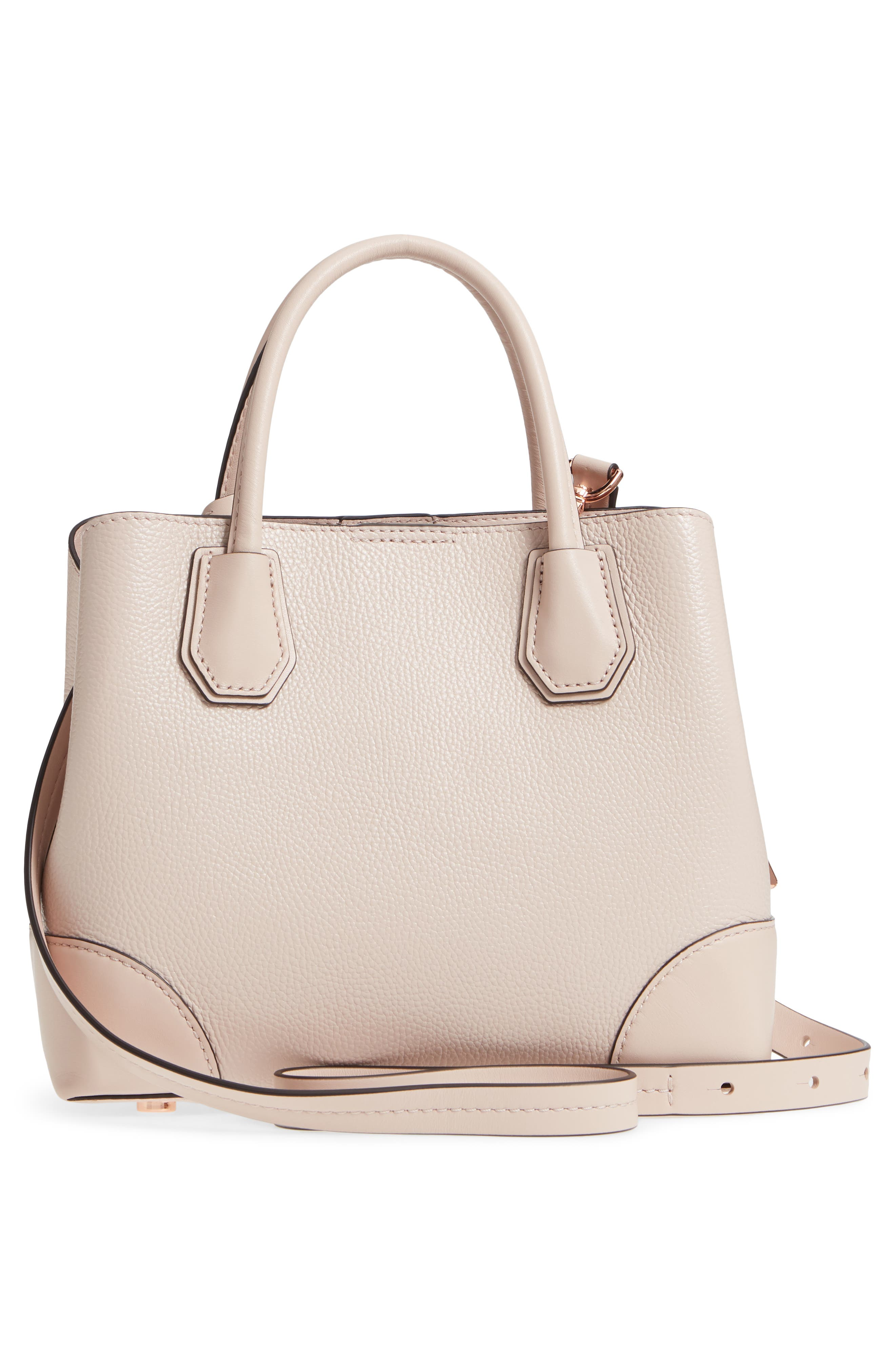 Small Mercer Gallery Leather Satchel,                             Alternate thumbnail 3, color,                             Soft Pink Multi