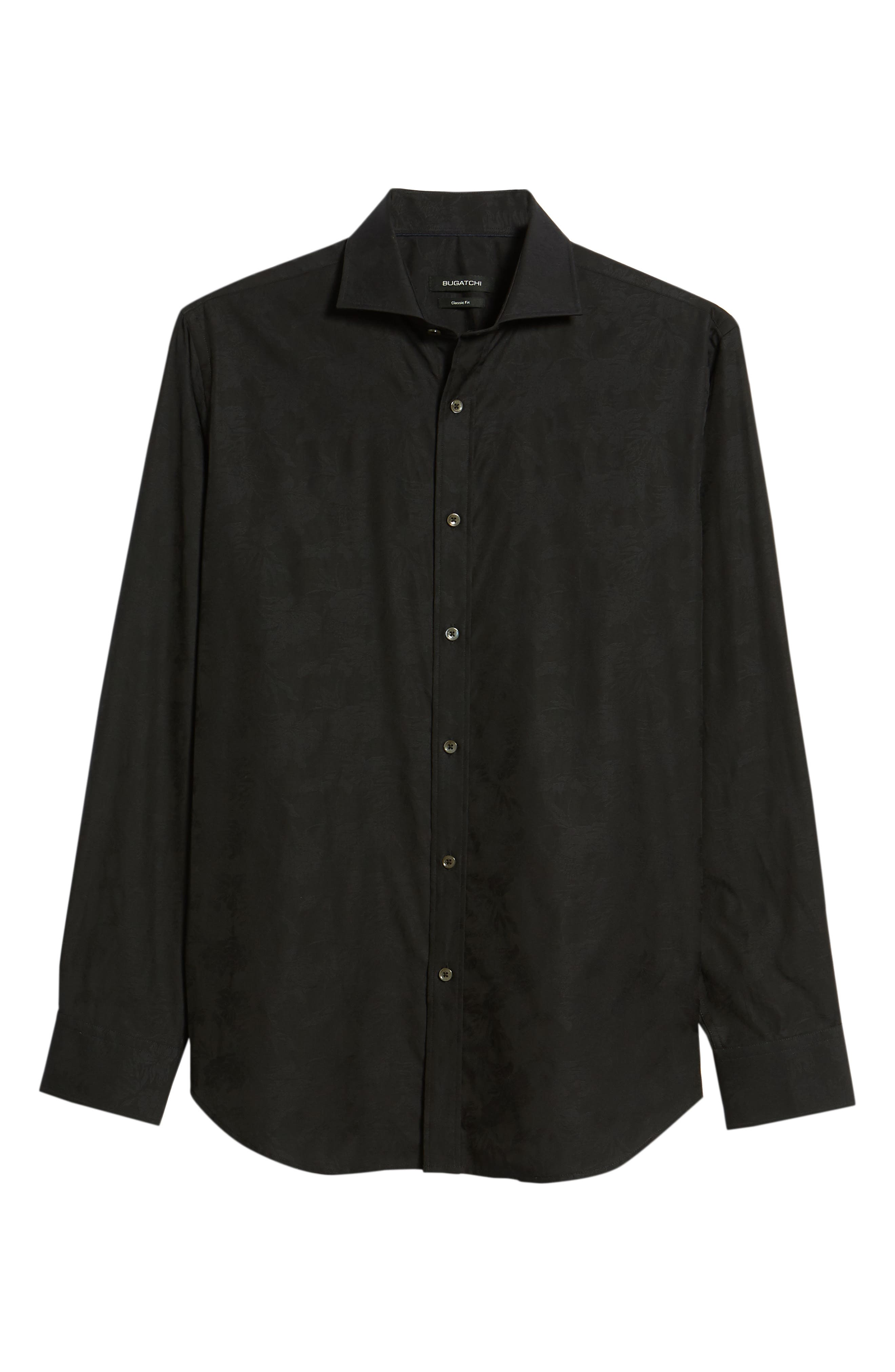 Classic Fit Tonal Jacquard Sport Shirt,                             Alternate thumbnail 6, color,                             Black