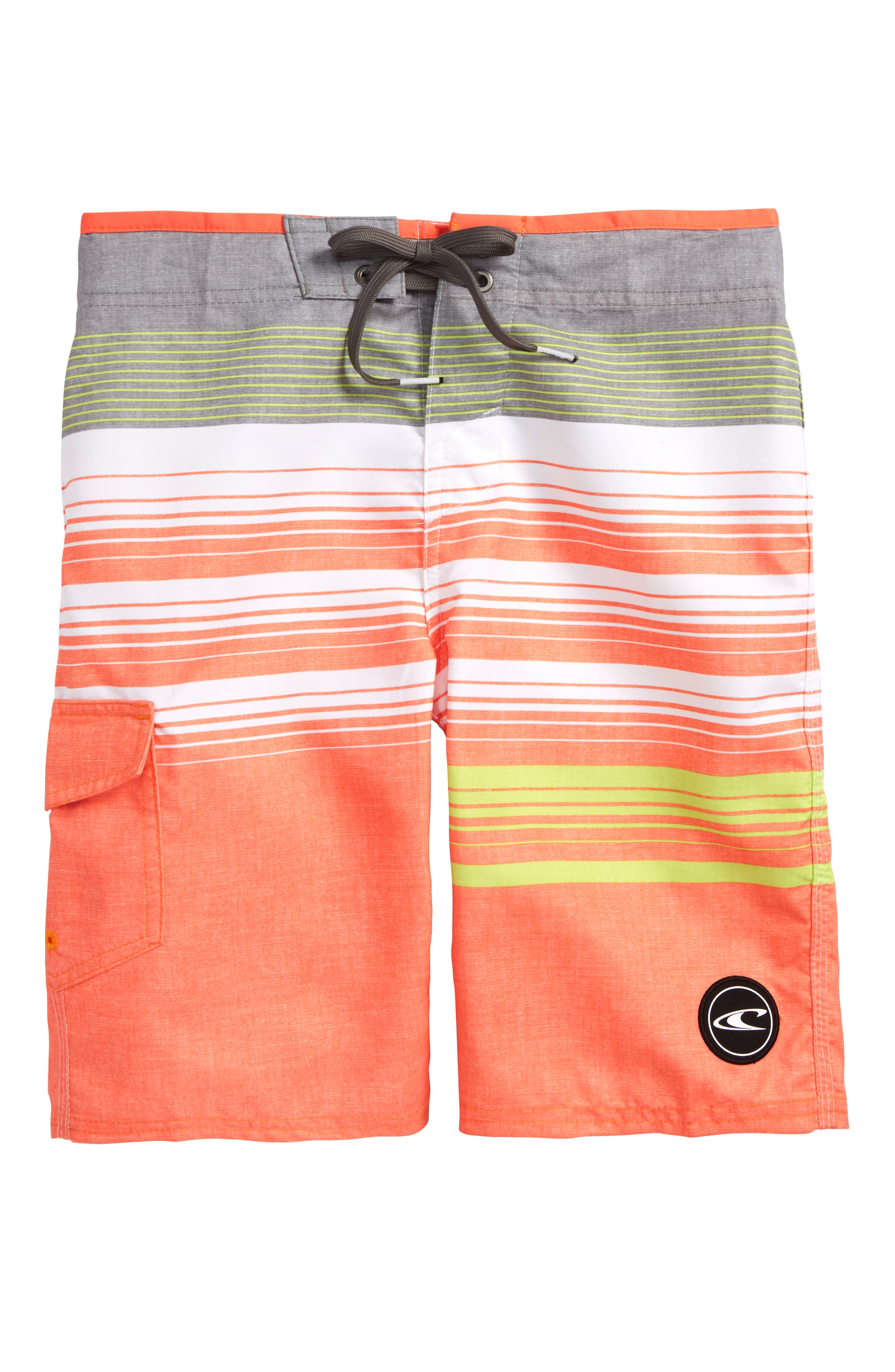 Stripe Board Shorts,                             Main thumbnail 1, color,                             Orange