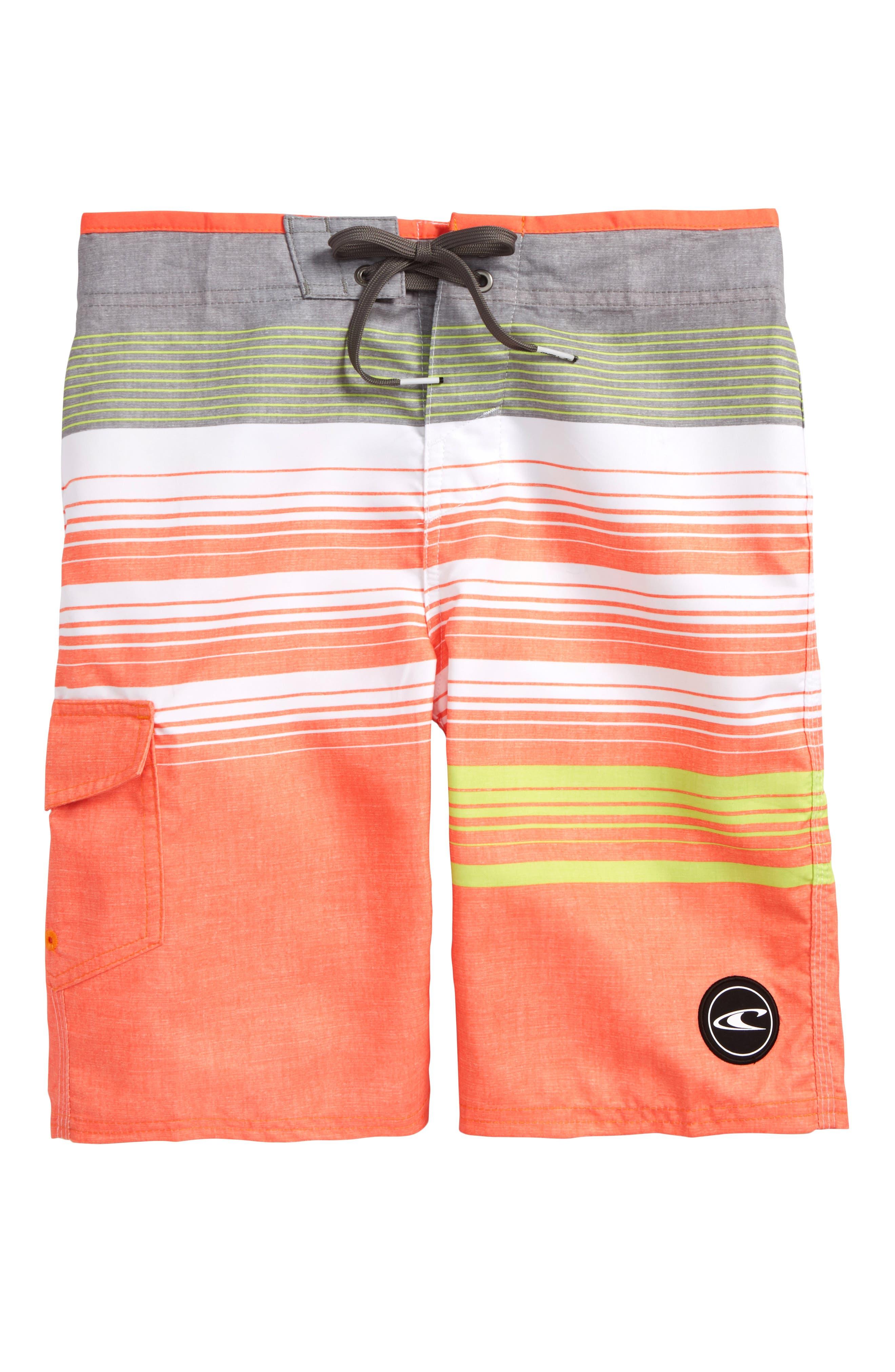 Stripe Board Shorts,                         Main,                         color, Orange
