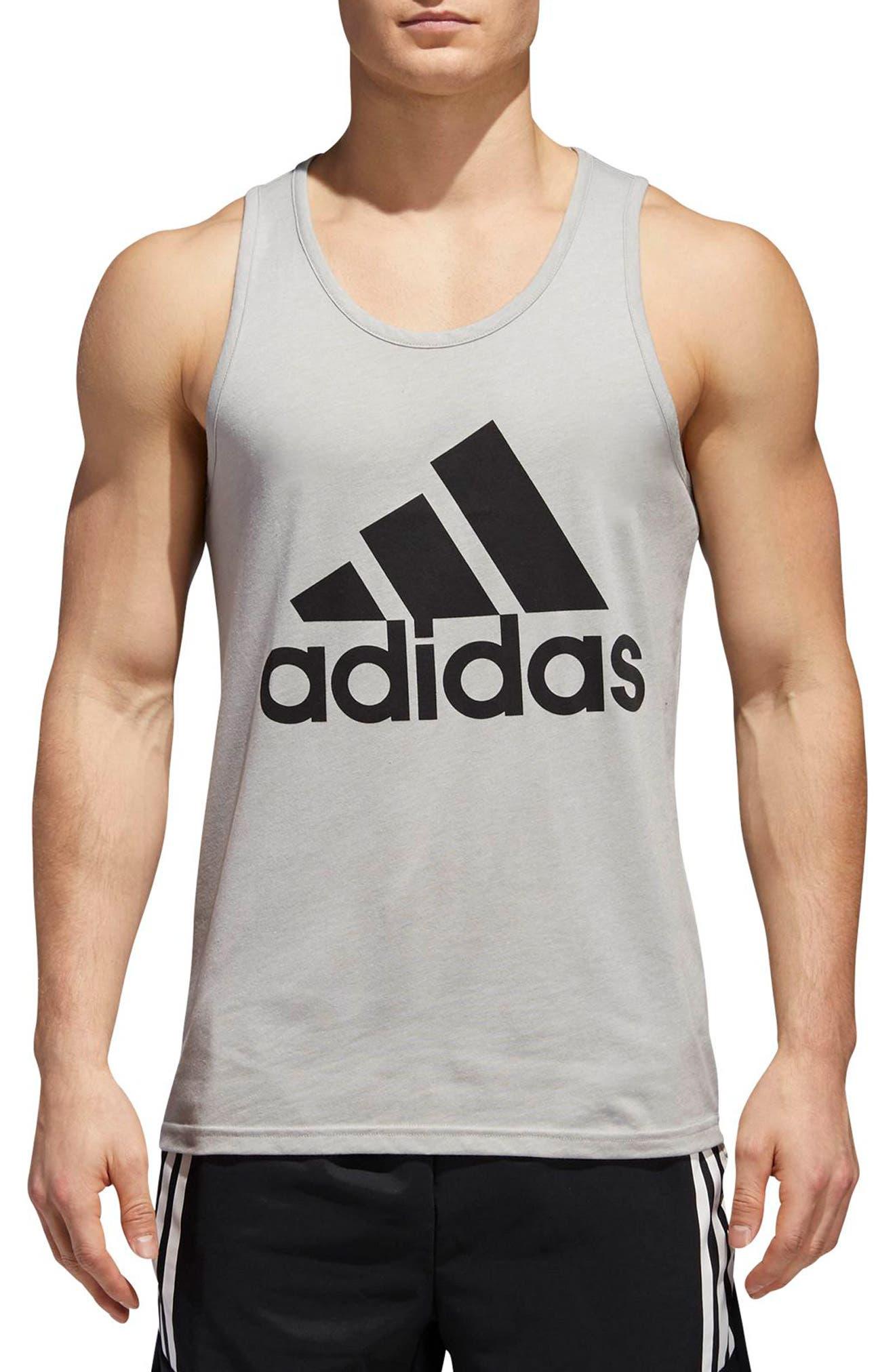 Slim Fit Heathered Logo Tank,                         Main,                         color, Medium Grey Heather / Black