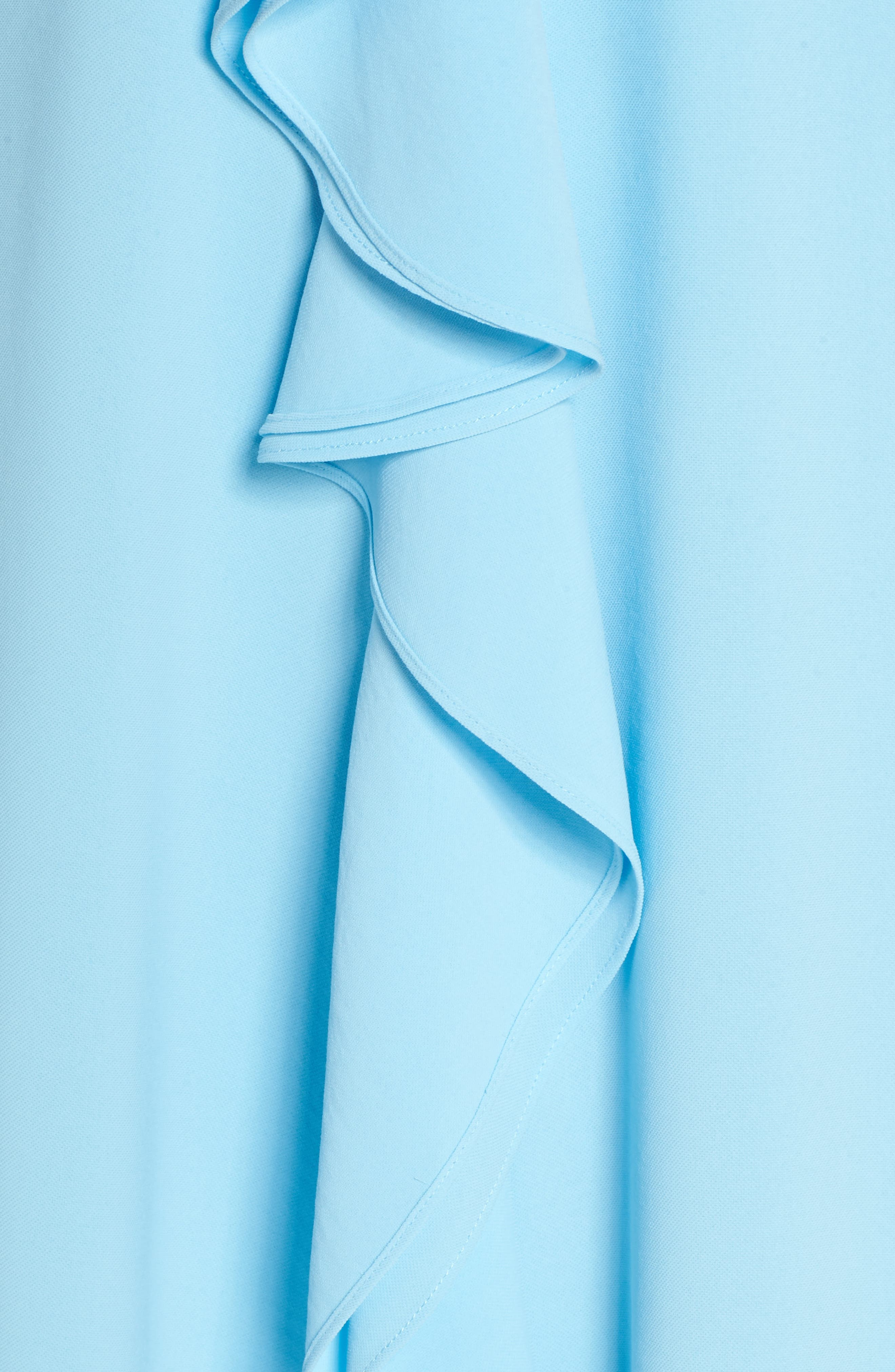 Double Ruffle Gauzy Crepe Shift Dress,                             Alternate thumbnail 5, color,                             Azure Mist