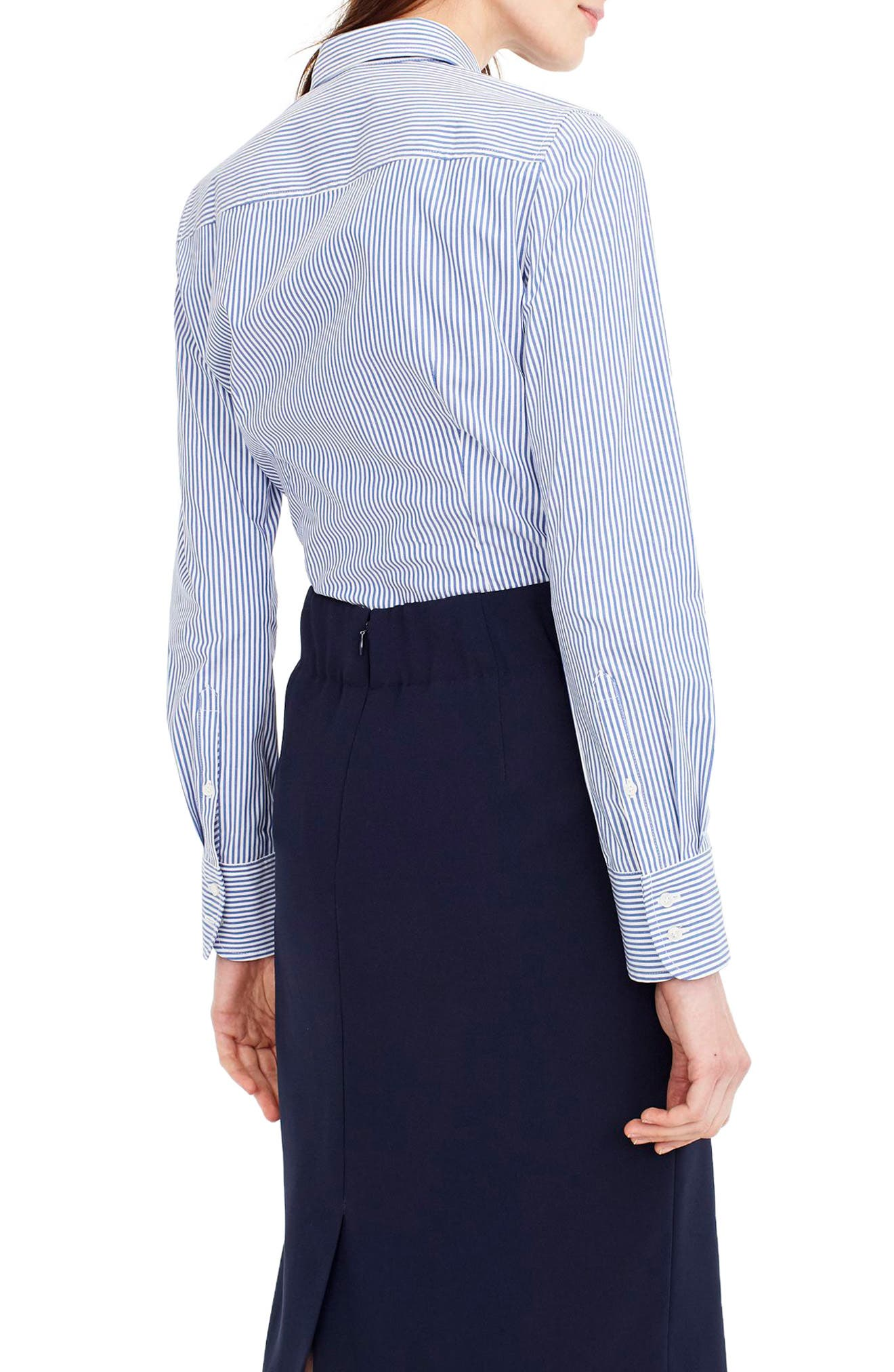 Classic Stripe Stretch Perfect Cotton Shirt,                             Alternate thumbnail 2, color,                             French Blue
