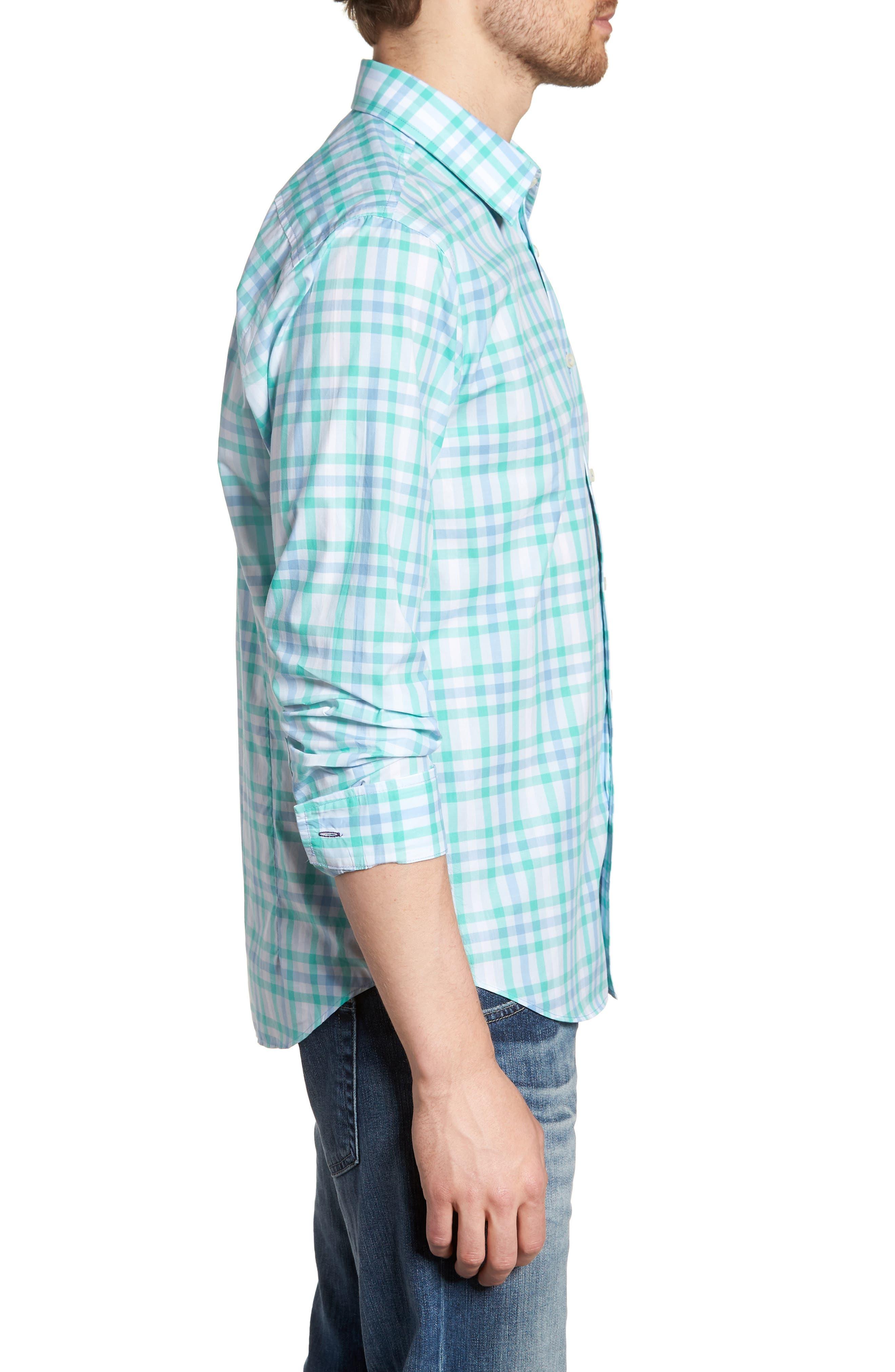 Slim Fit Check Sport Shirt,                             Alternate thumbnail 4, color,                             Turquoise