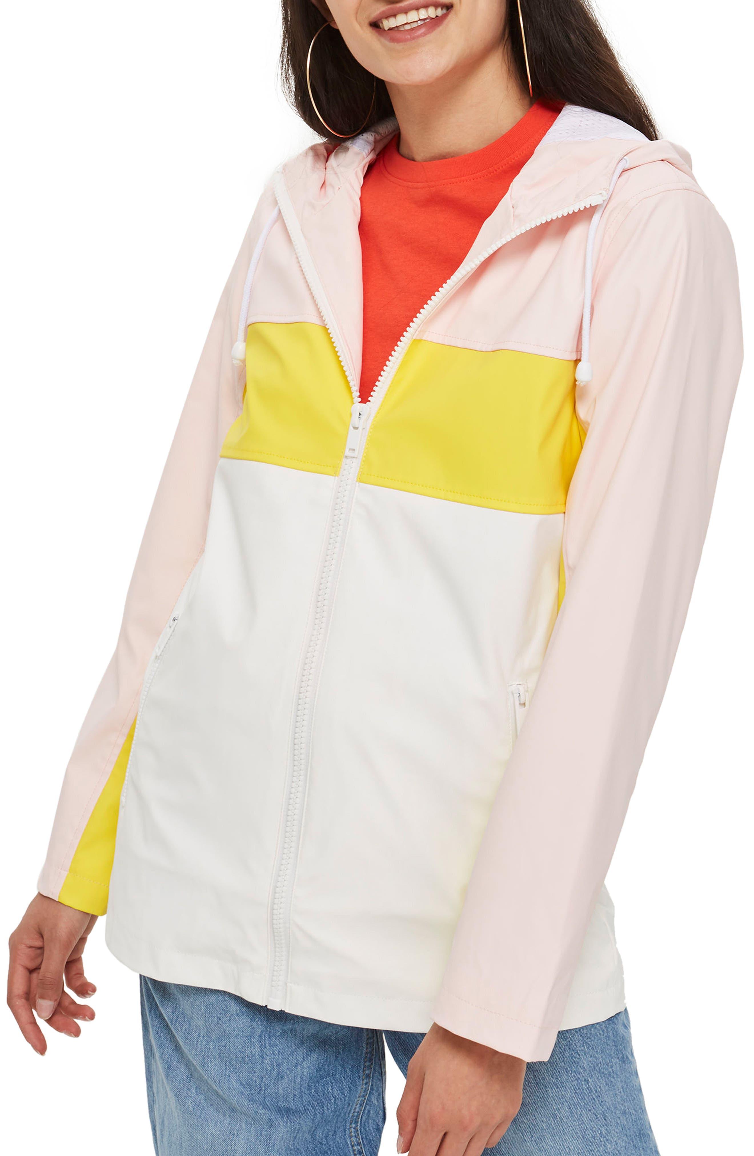 Colorblock Rain Mac Jacket,                             Main thumbnail 1, color,                             Pink Multi