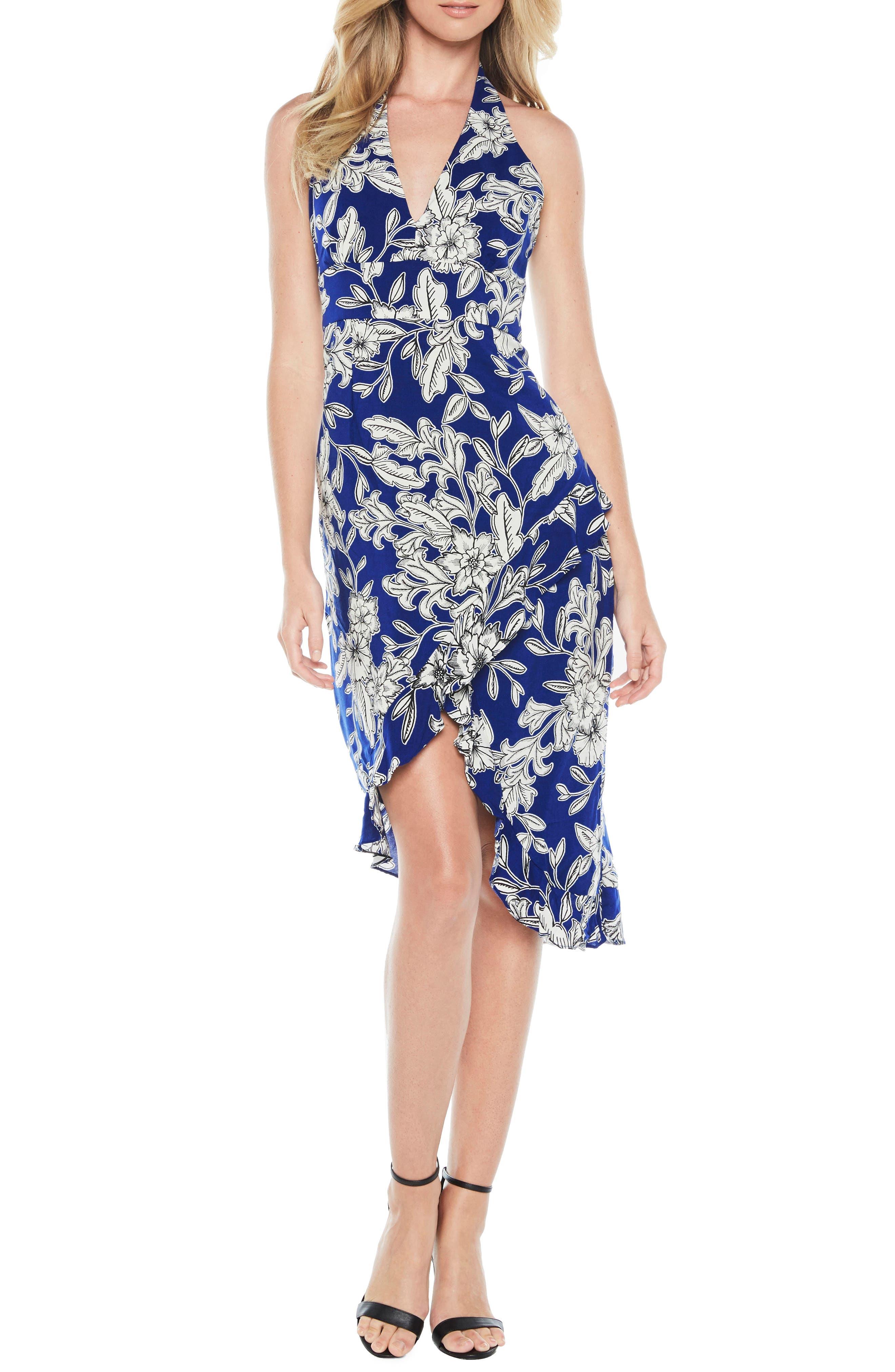Petra Floral Dress,                             Main thumbnail 1, color,                             Cobalt Floral
