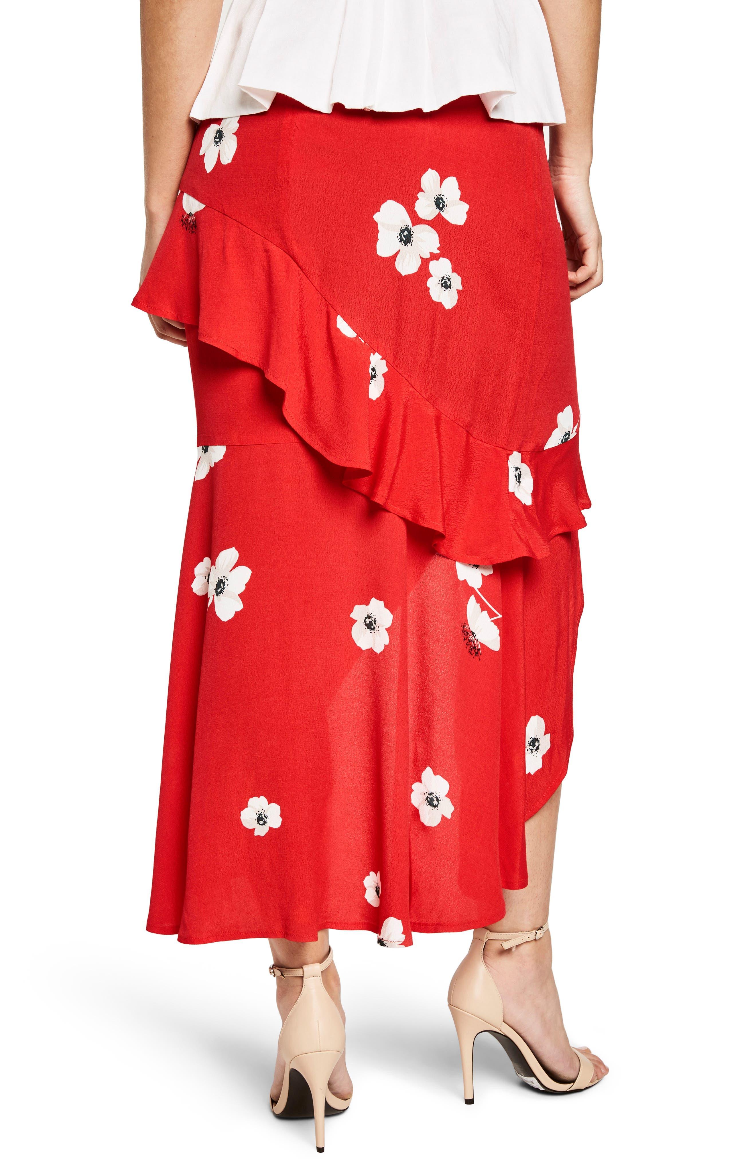 Freida Ruffle Skirt,                             Alternate thumbnail 2, color,                             Poppy