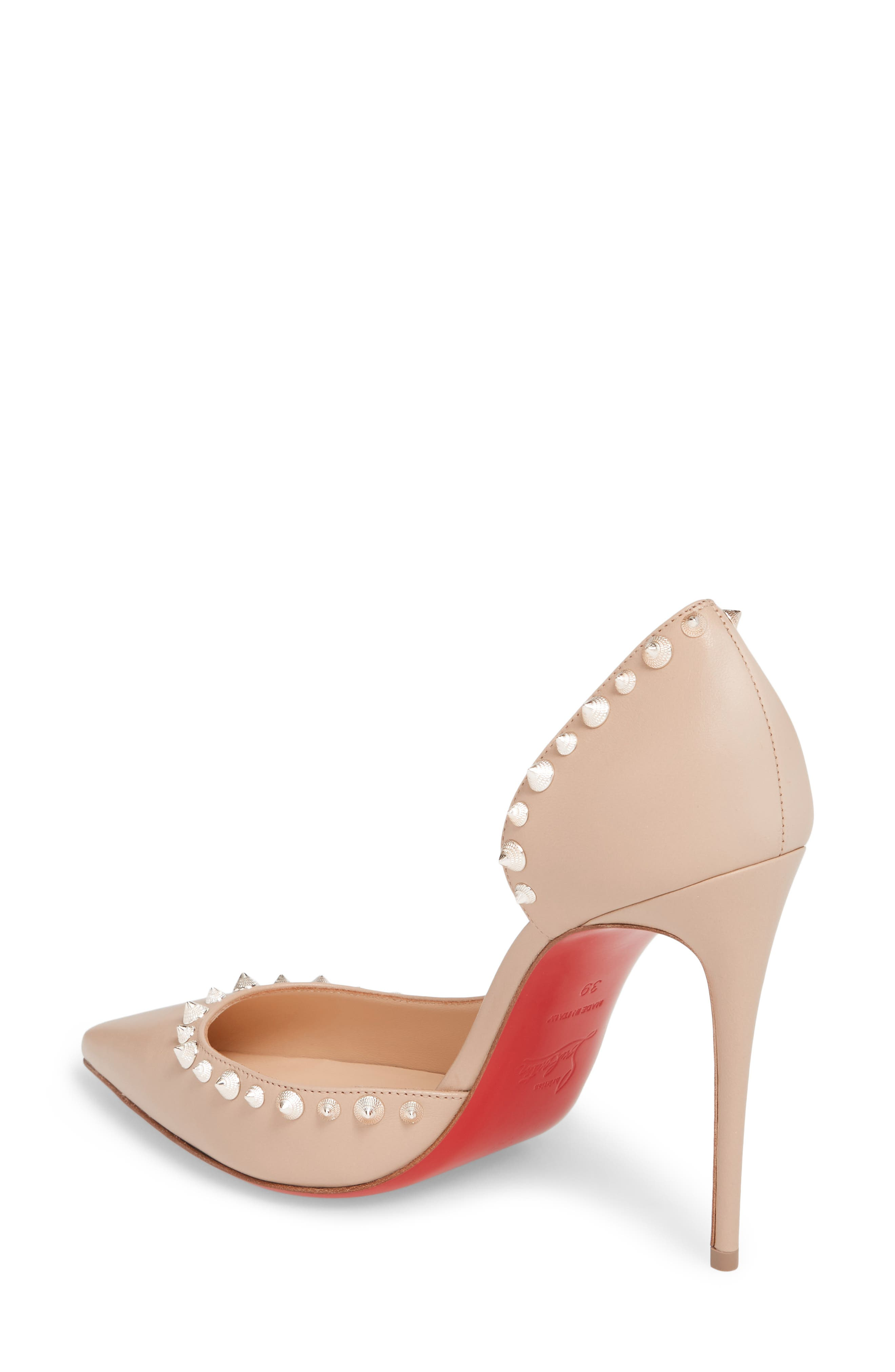 Irishell Studded Half d'Orsay Pump,                             Alternate thumbnail 2, color,                             Nude/ White Gold