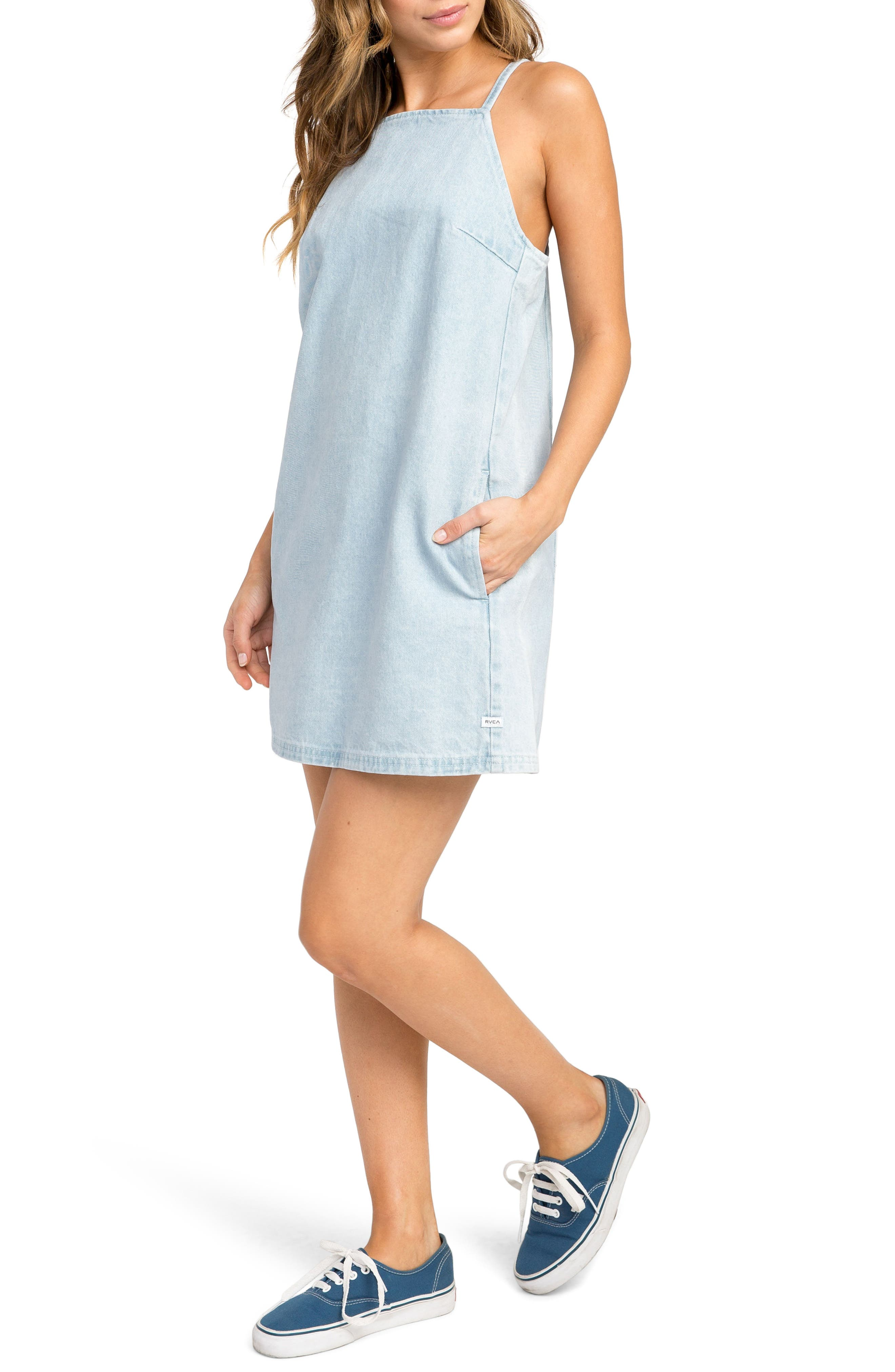Maple Denim Apron Dress,                             Alternate thumbnail 4, color,                             Denim