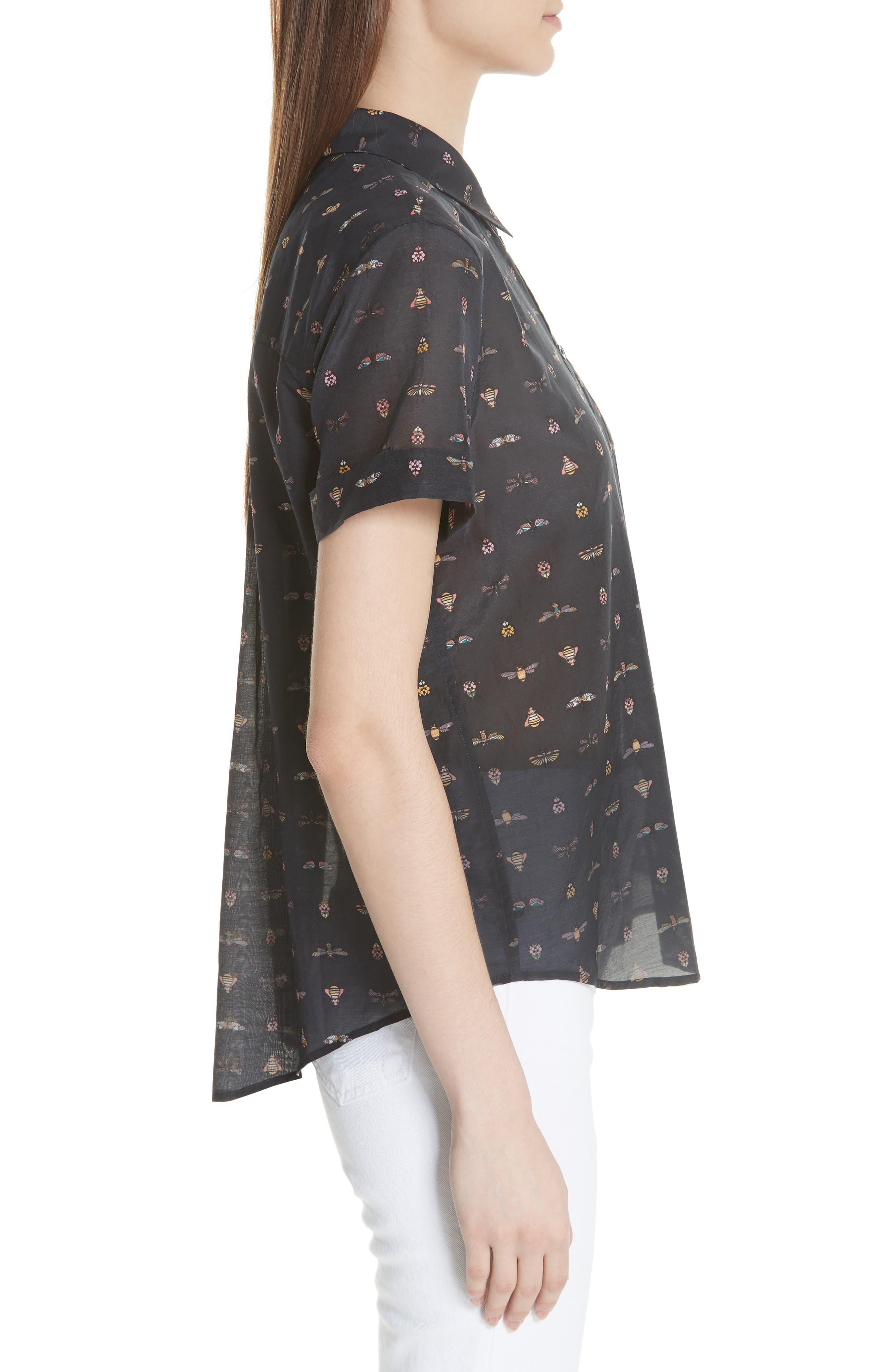 Elley Cotton & Silk Shirt,                             Alternate thumbnail 3, color,                             Eclipse Multi