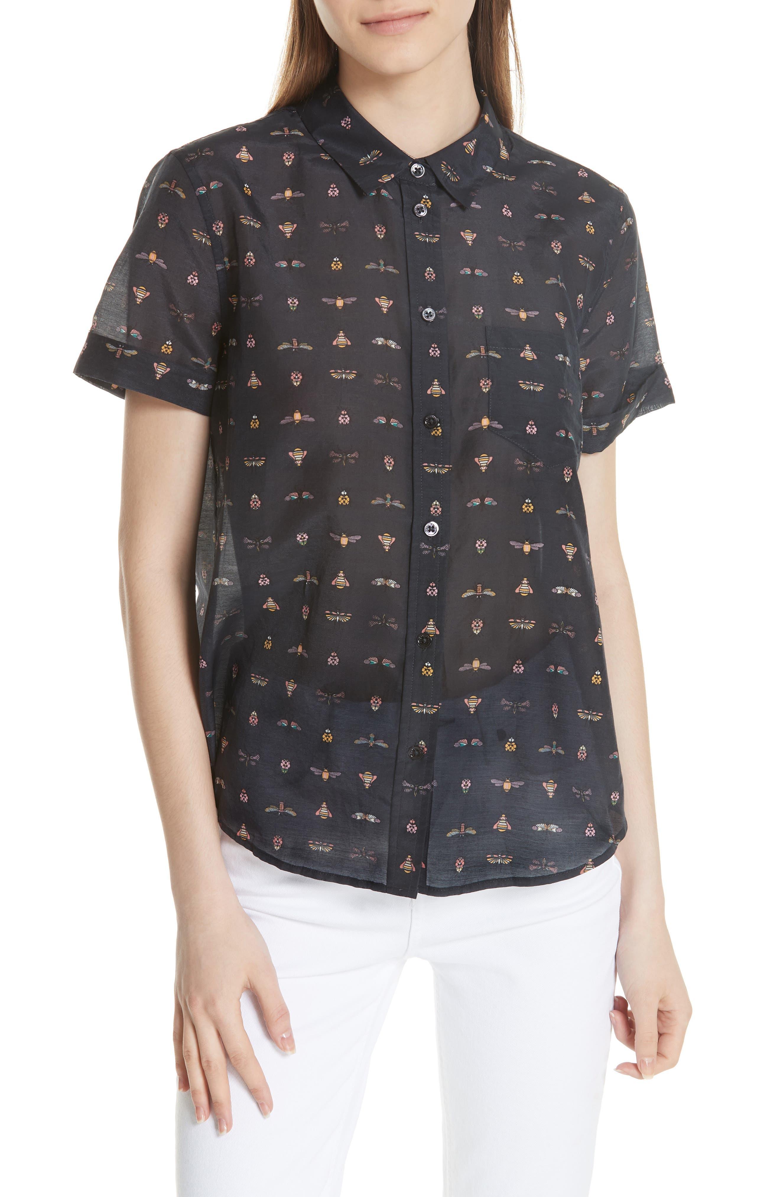 Elley Cotton & Silk Shirt,                             Main thumbnail 1, color,                             Eclipse Multi
