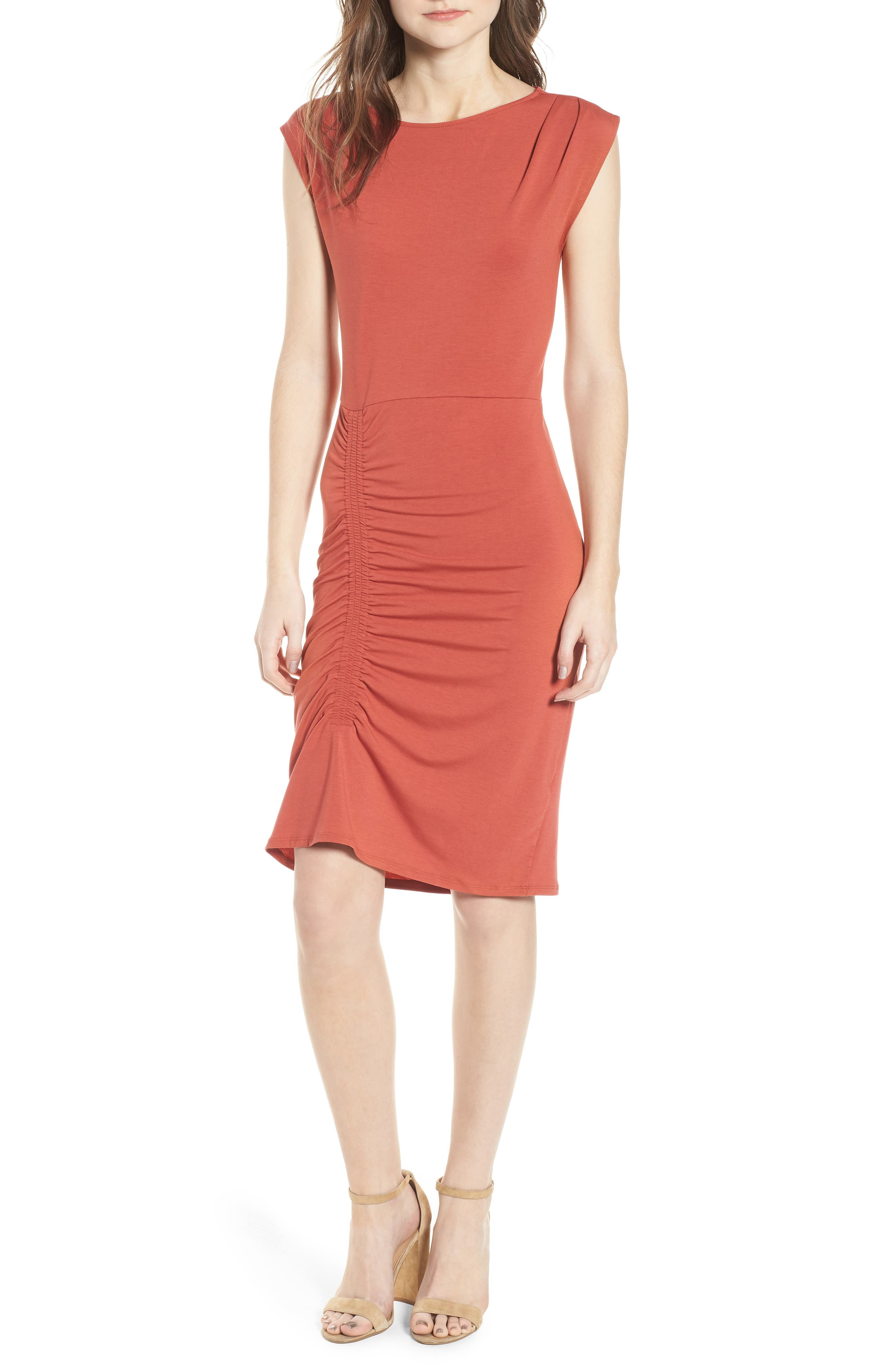 Ruched Knit Dress,                             Main thumbnail 1, color,                             Red Sauce