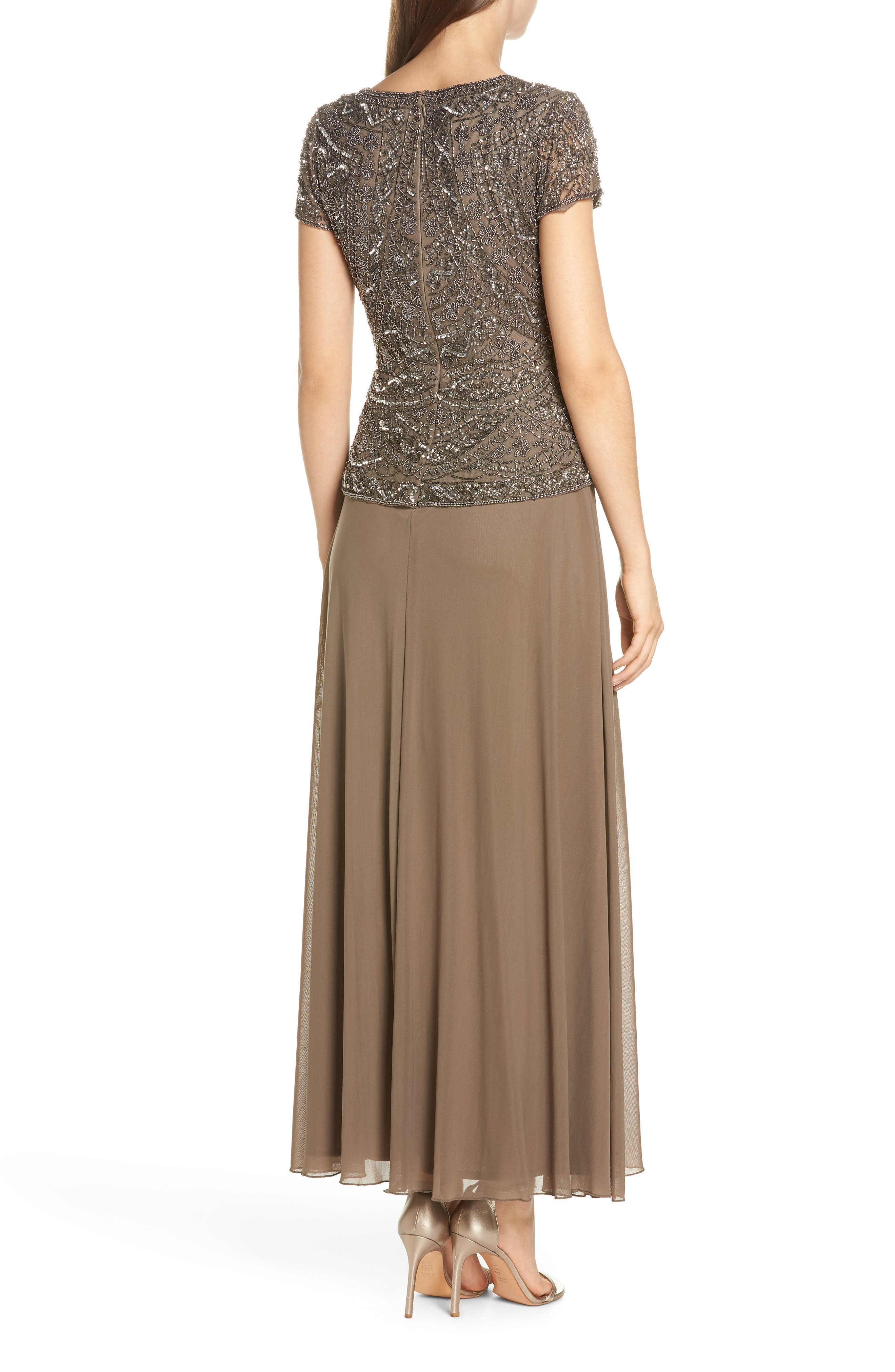 Beaded V-Neck Mock Two-Piece Gown,                             Alternate thumbnail 2, color,                             Mocha