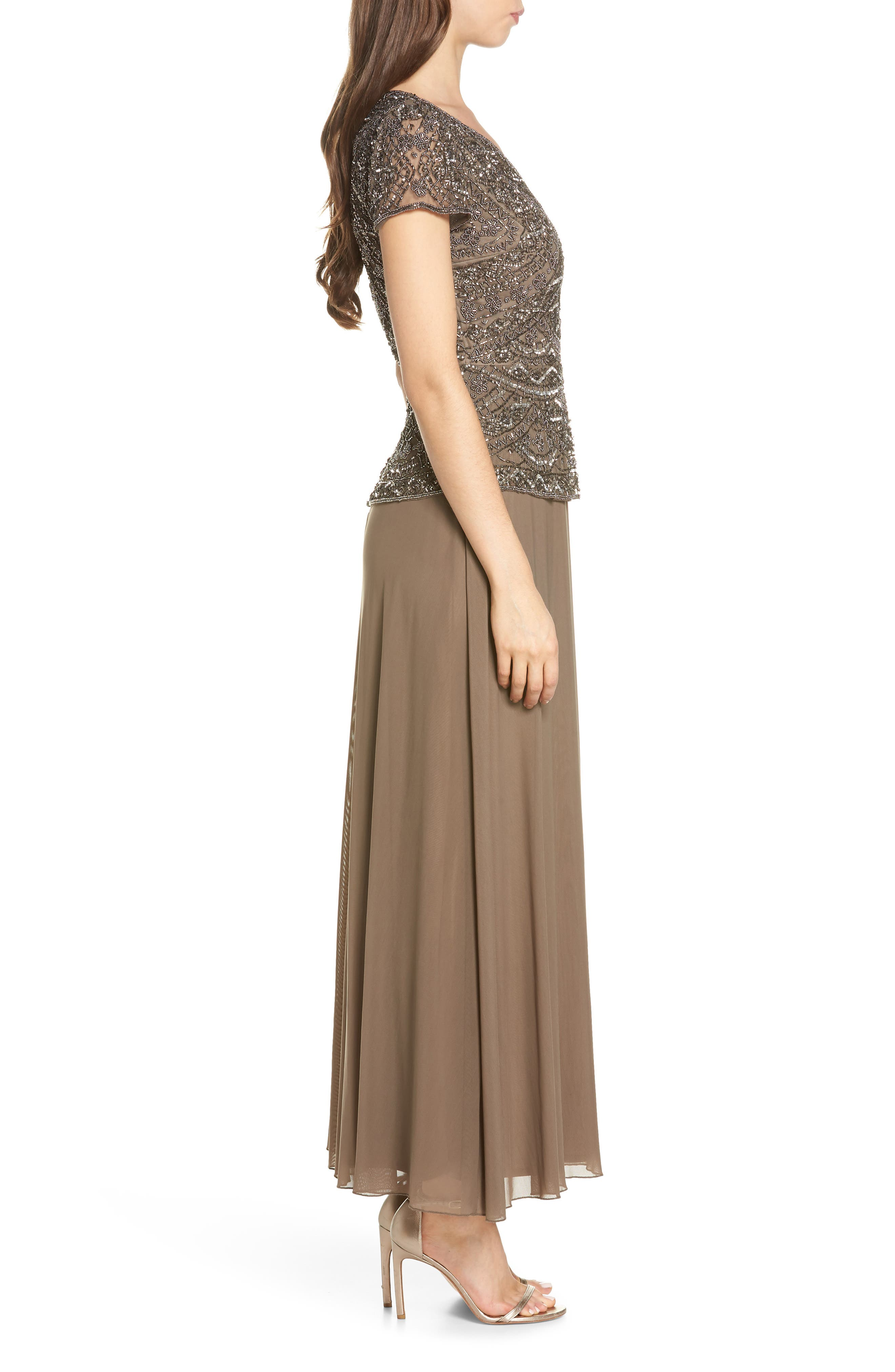 Beaded V-Neck Mock Two-Piece Gown,                             Alternate thumbnail 3, color,                             Mocha