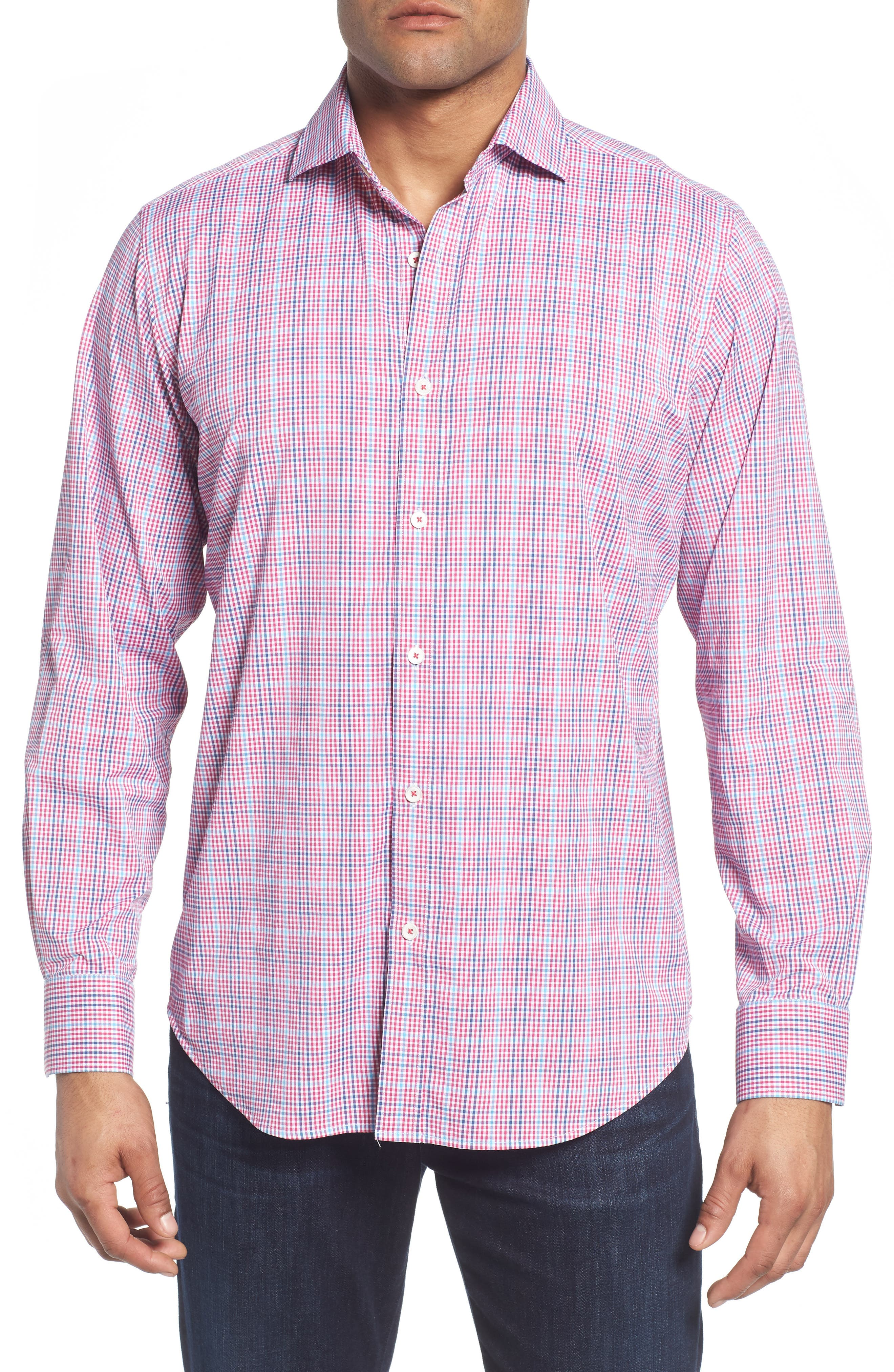 Classic Fit Pin Check Performance Sport Shirt,                         Main,                         color, Berry