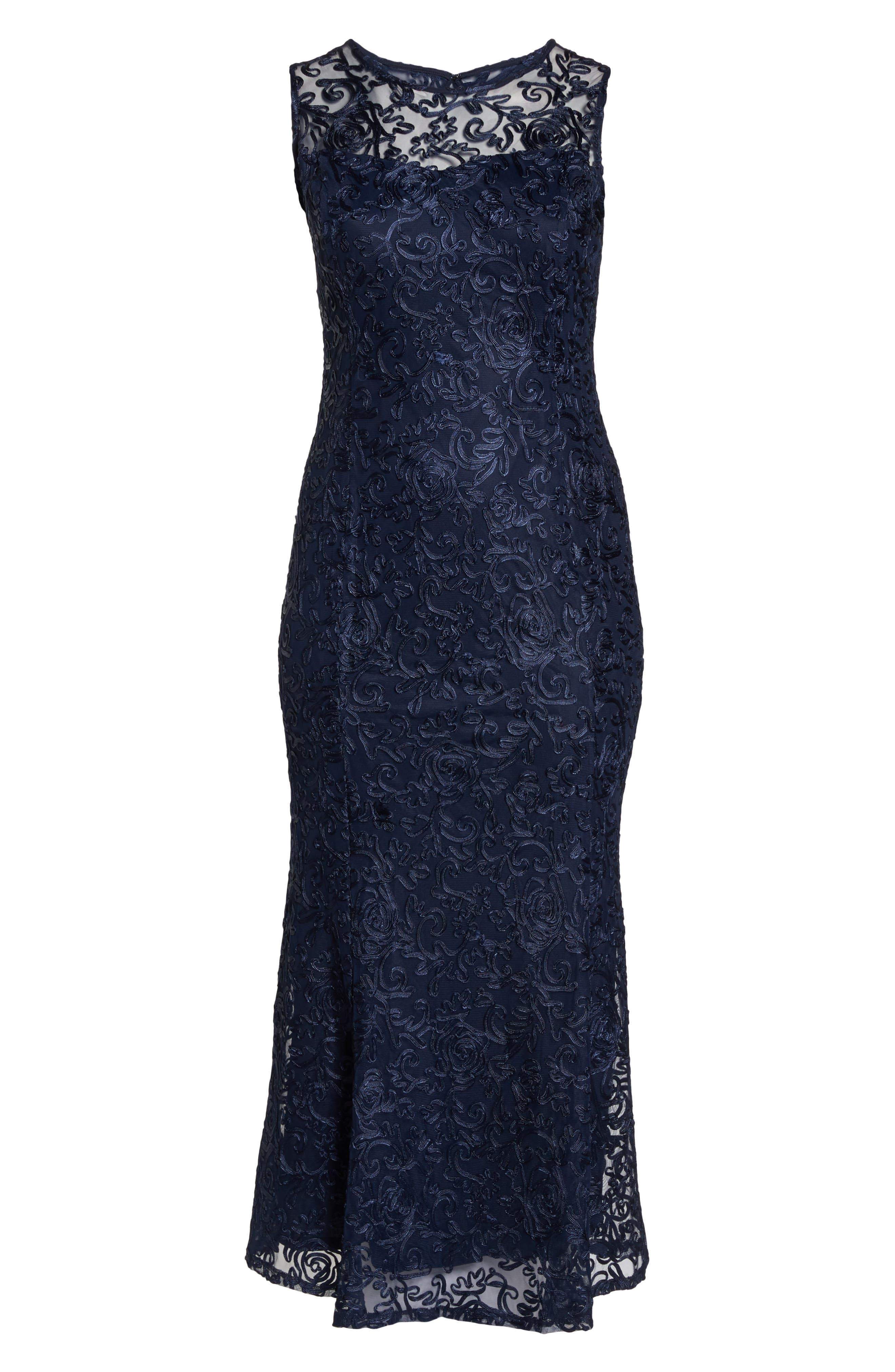 Soutache Fit & Flare Gown,                             Alternate thumbnail 6, color,                             Navy
