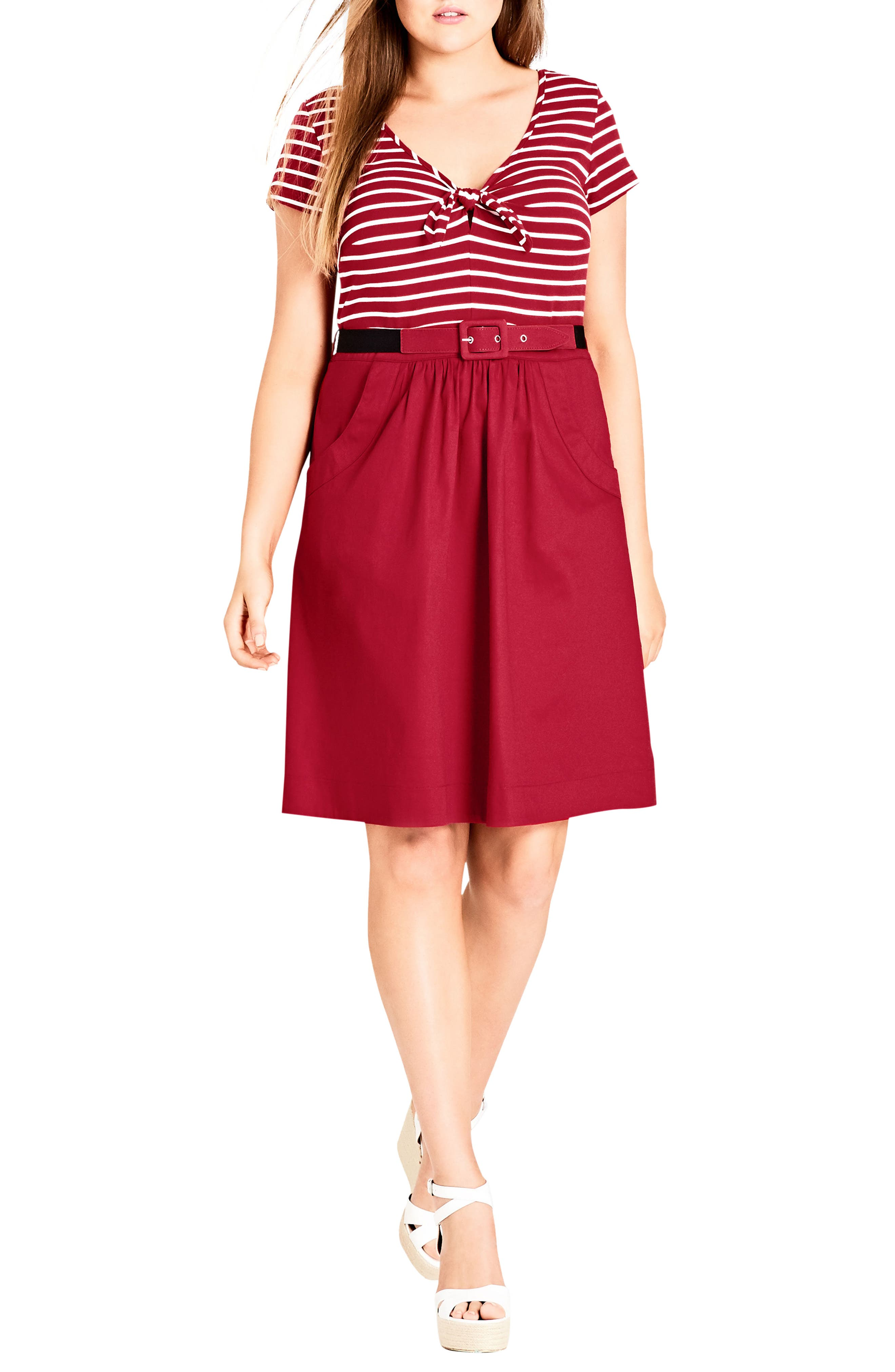Tie Front Stripe Bodice Dress,                             Main thumbnail 1, color,                             Cherry