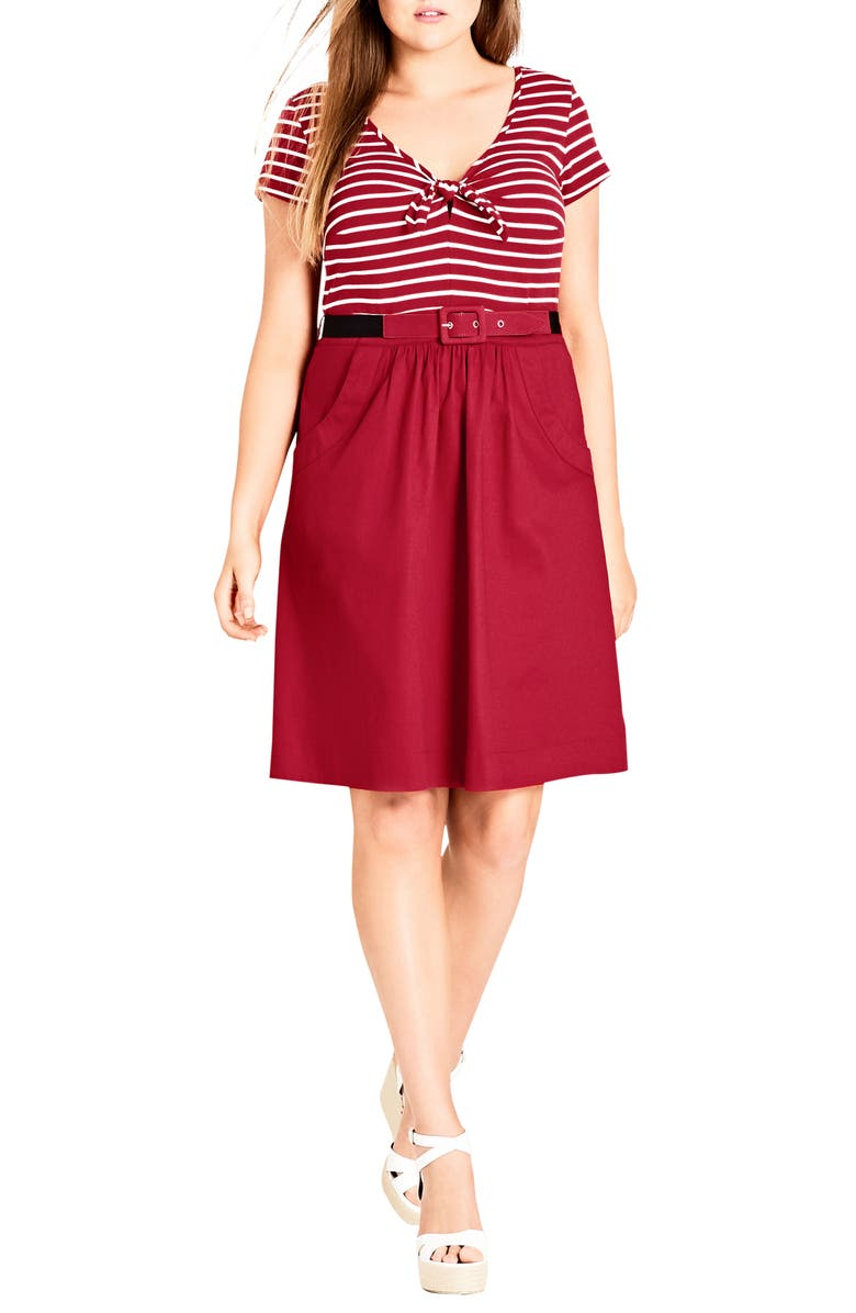 Tie Front Stripe Bodice Dress