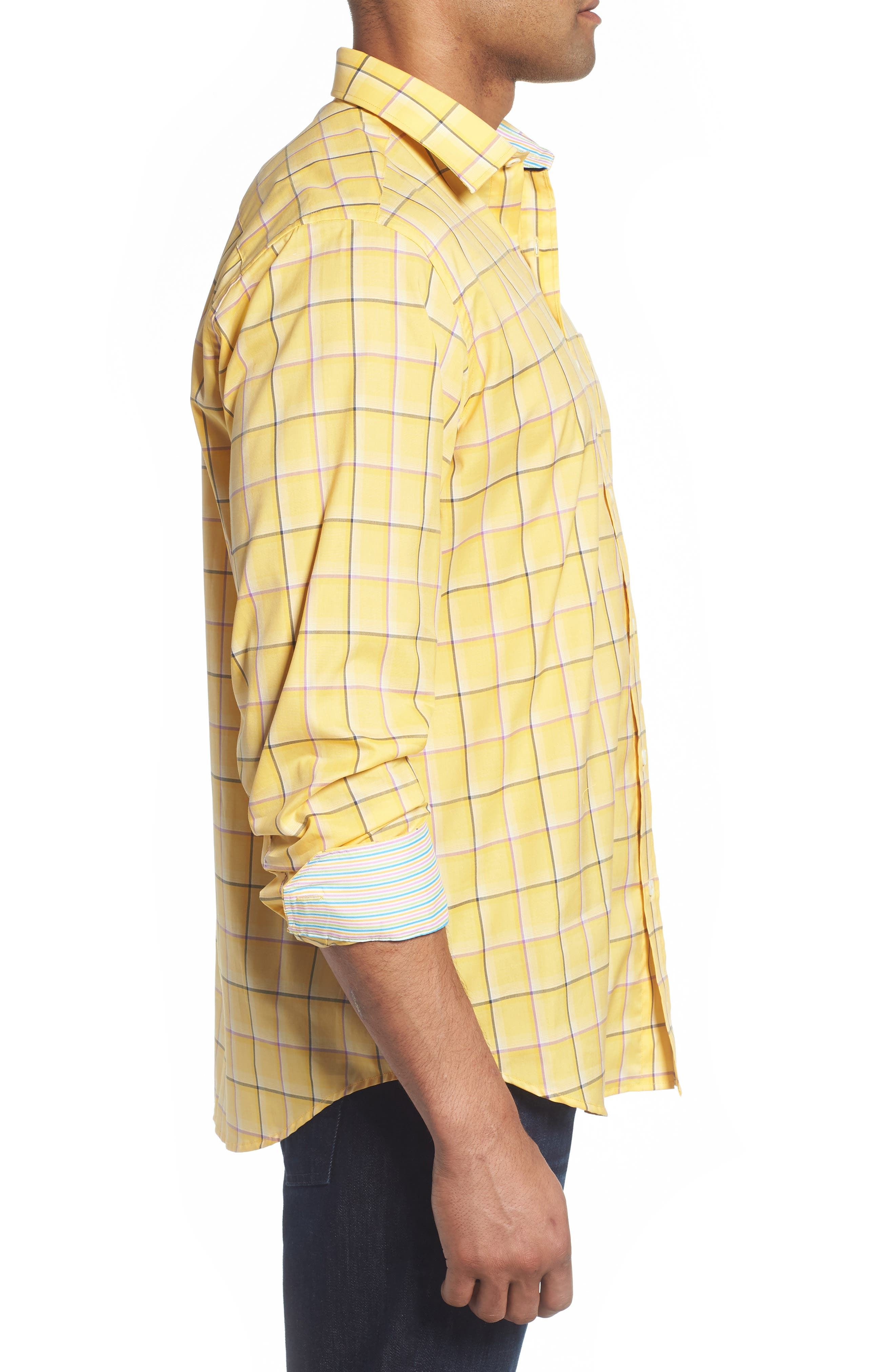 Classic Fit Check Sport Shirt,                             Alternate thumbnail 4, color,                             Lemon