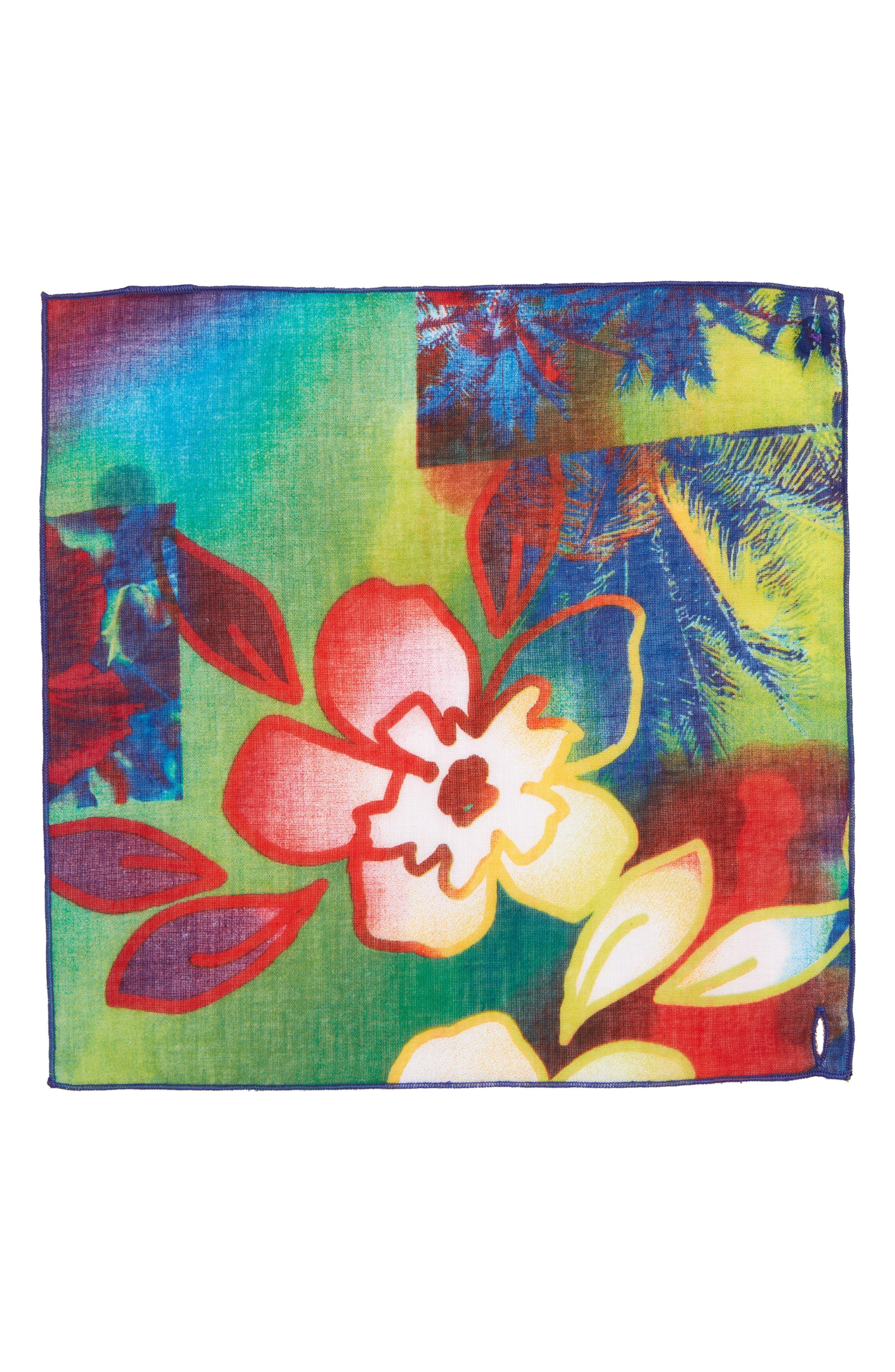 Hawaii Cotton Pocket Square,                             Alternate thumbnail 2, color,                             Purple