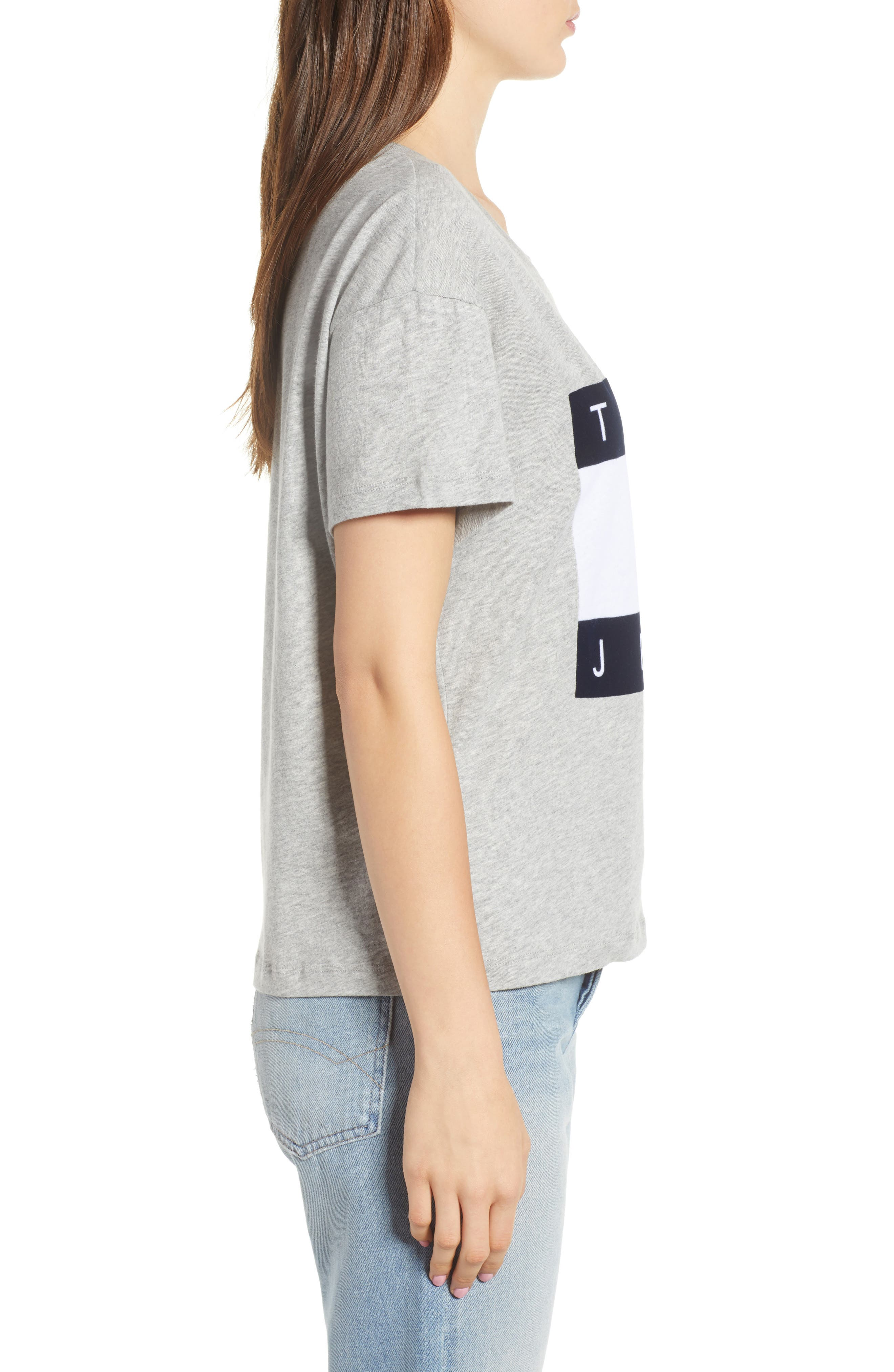 Velvet Logo Tee,                             Alternate thumbnail 3, color,                             Grey Marl
