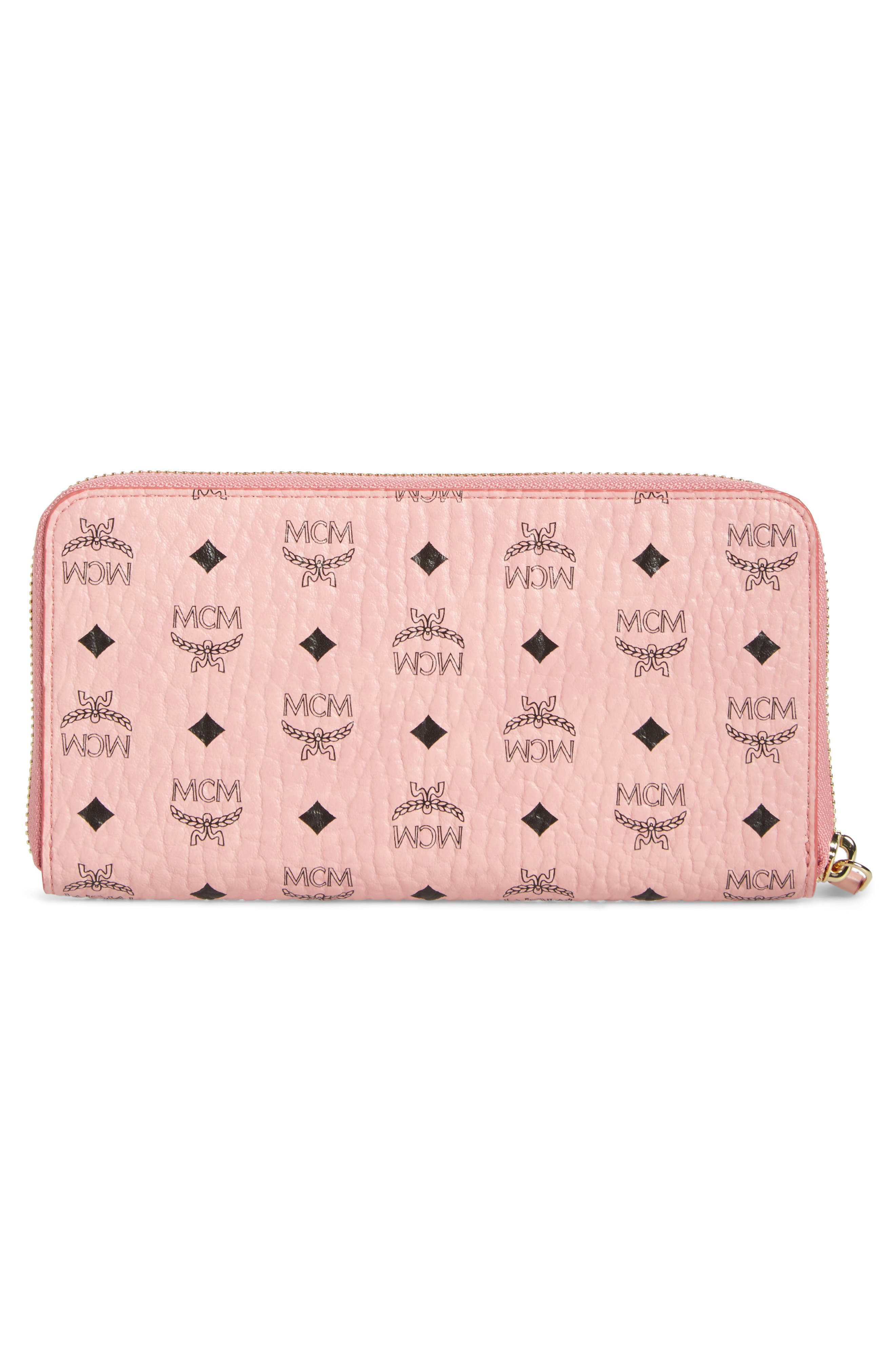 Visetos Coated Canvas Zip Wallet,                             Alternate thumbnail 4, color,                             Soft Pink
