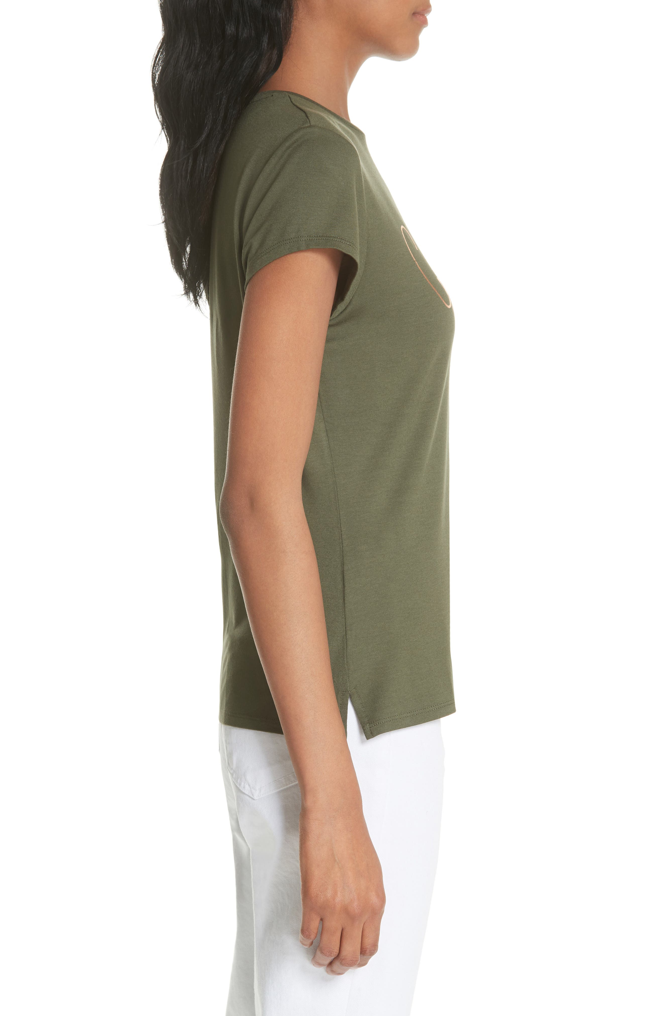 Drop Ted Gorgeous Fitted Tee,                             Alternate thumbnail 3, color,                             Khaki