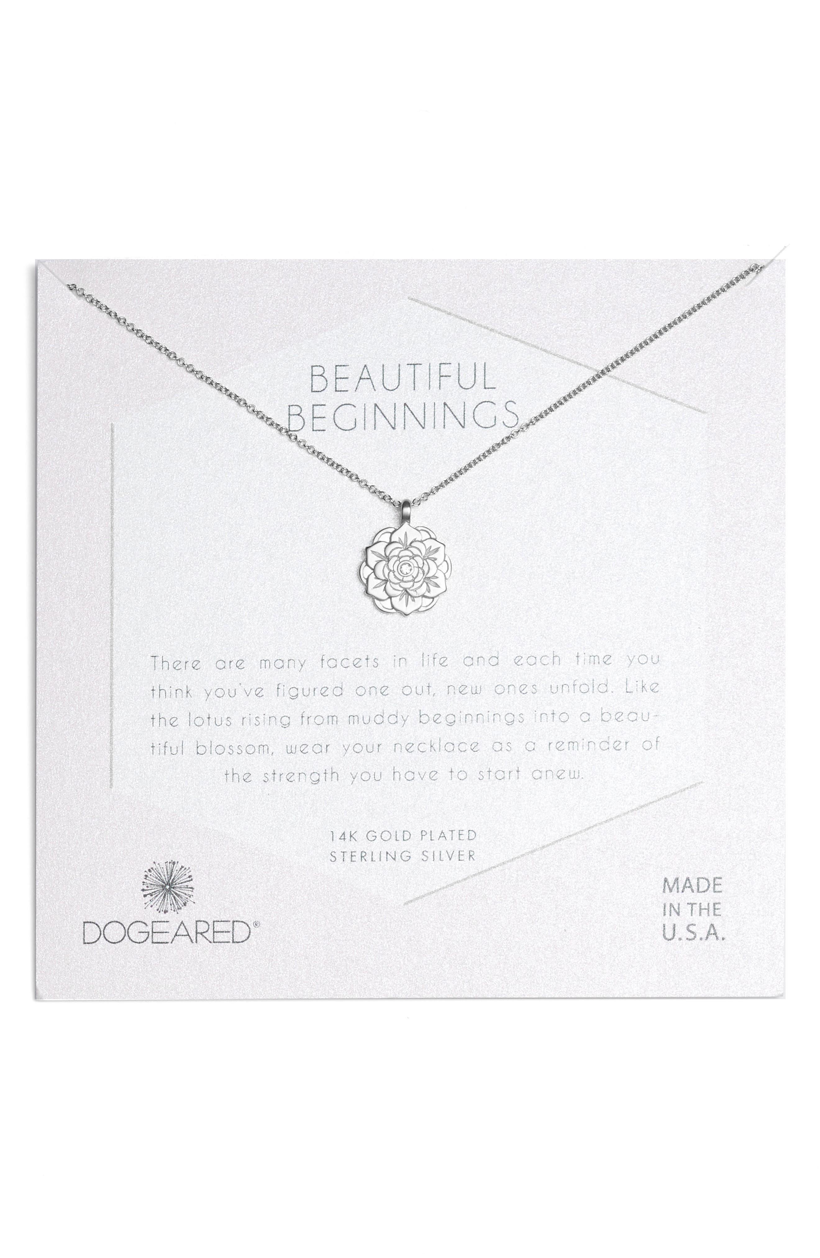 Main Image - Dogeared Beautiful Beginnings Lotus Pendant Necklace