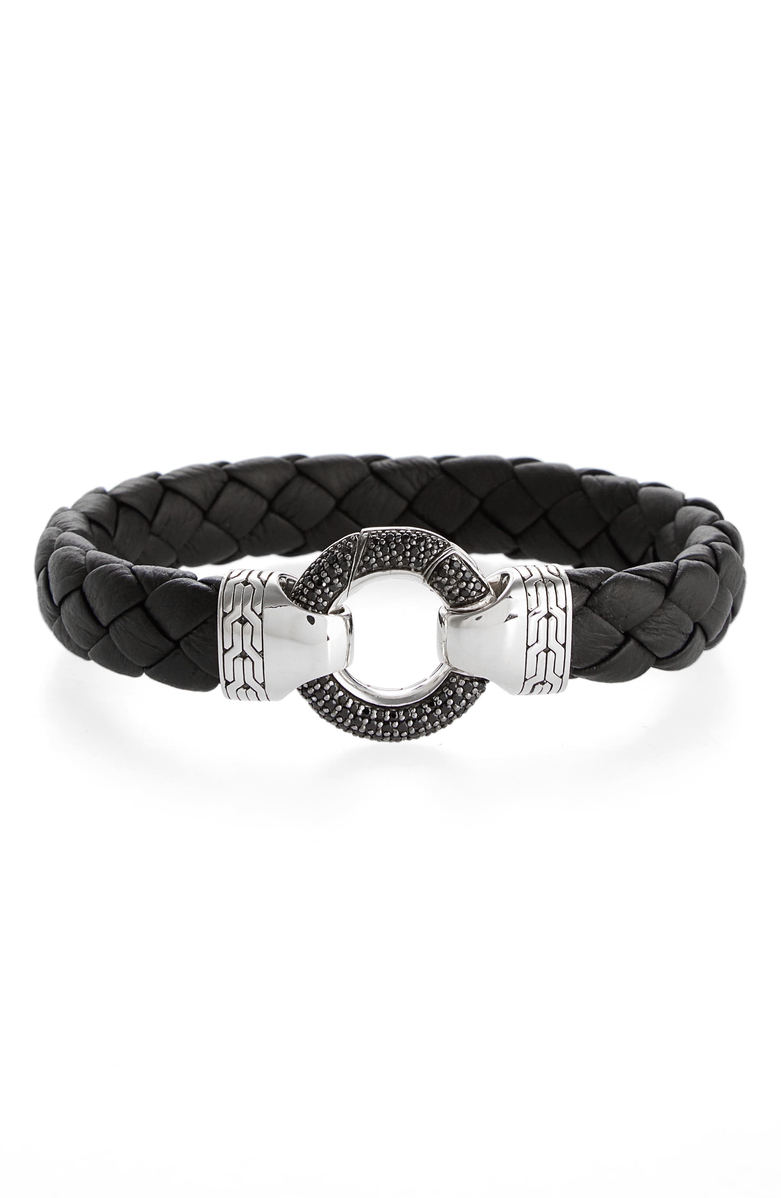 Classic Chain Ring Clasp Leather Bracelet,                         Main,                         color, Black/ Silver