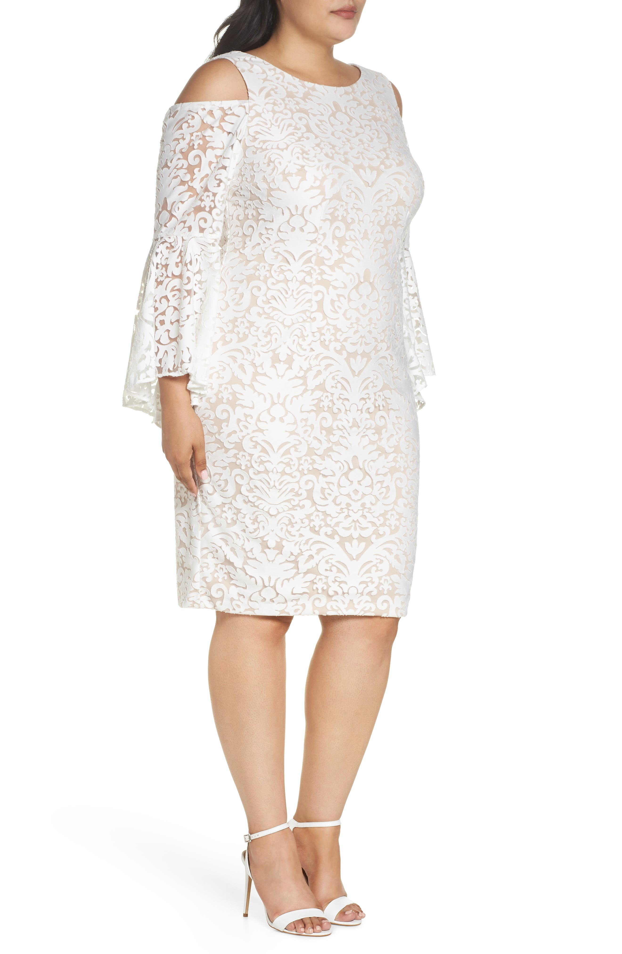 Lace Bell Sleeve Sheath Dress,                             Alternate thumbnail 3, color,                             Ivory/ Blush