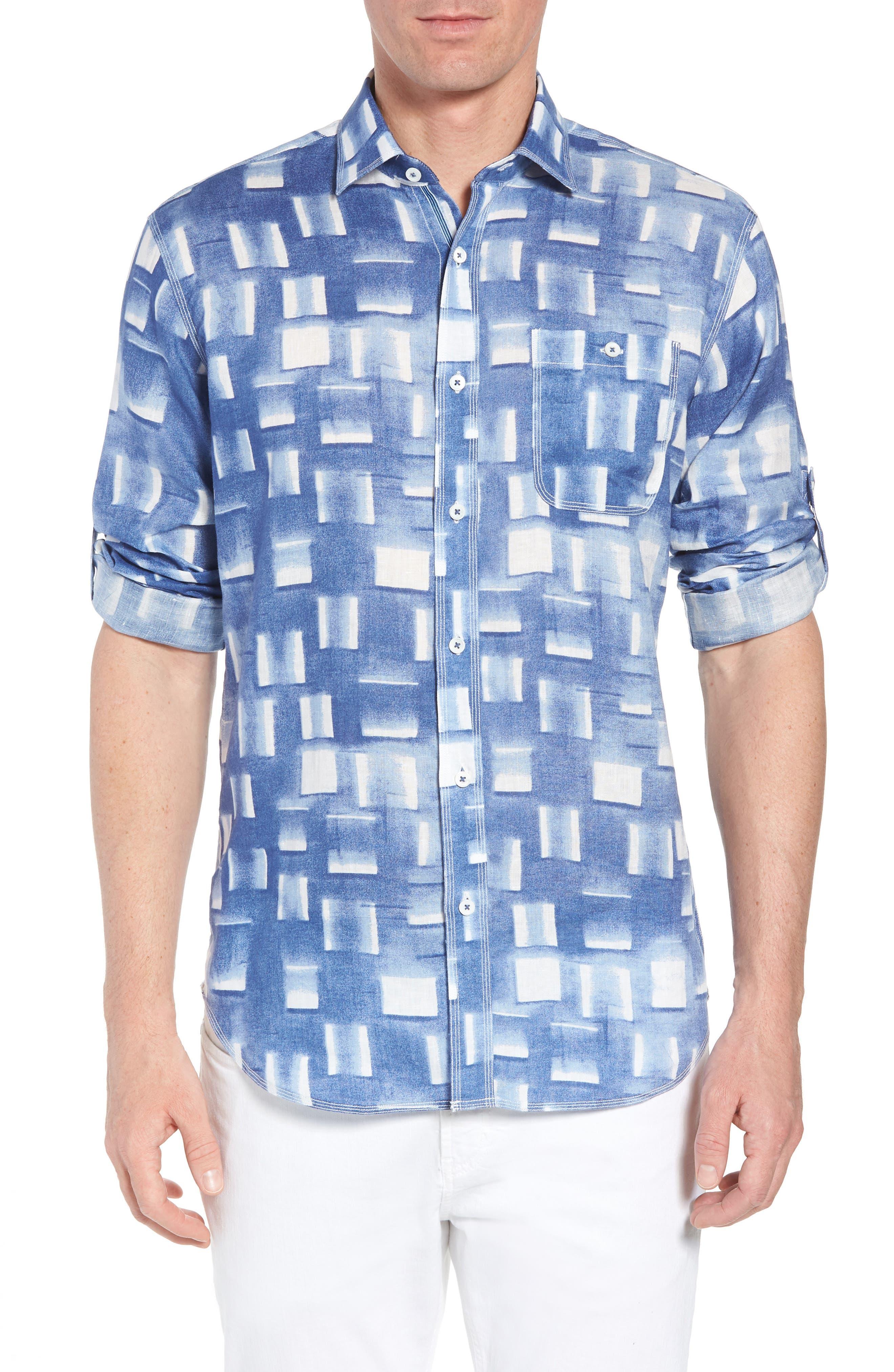 Shaped Fit Print Linen Sport Shirt,                         Main,                         color, Air Blue