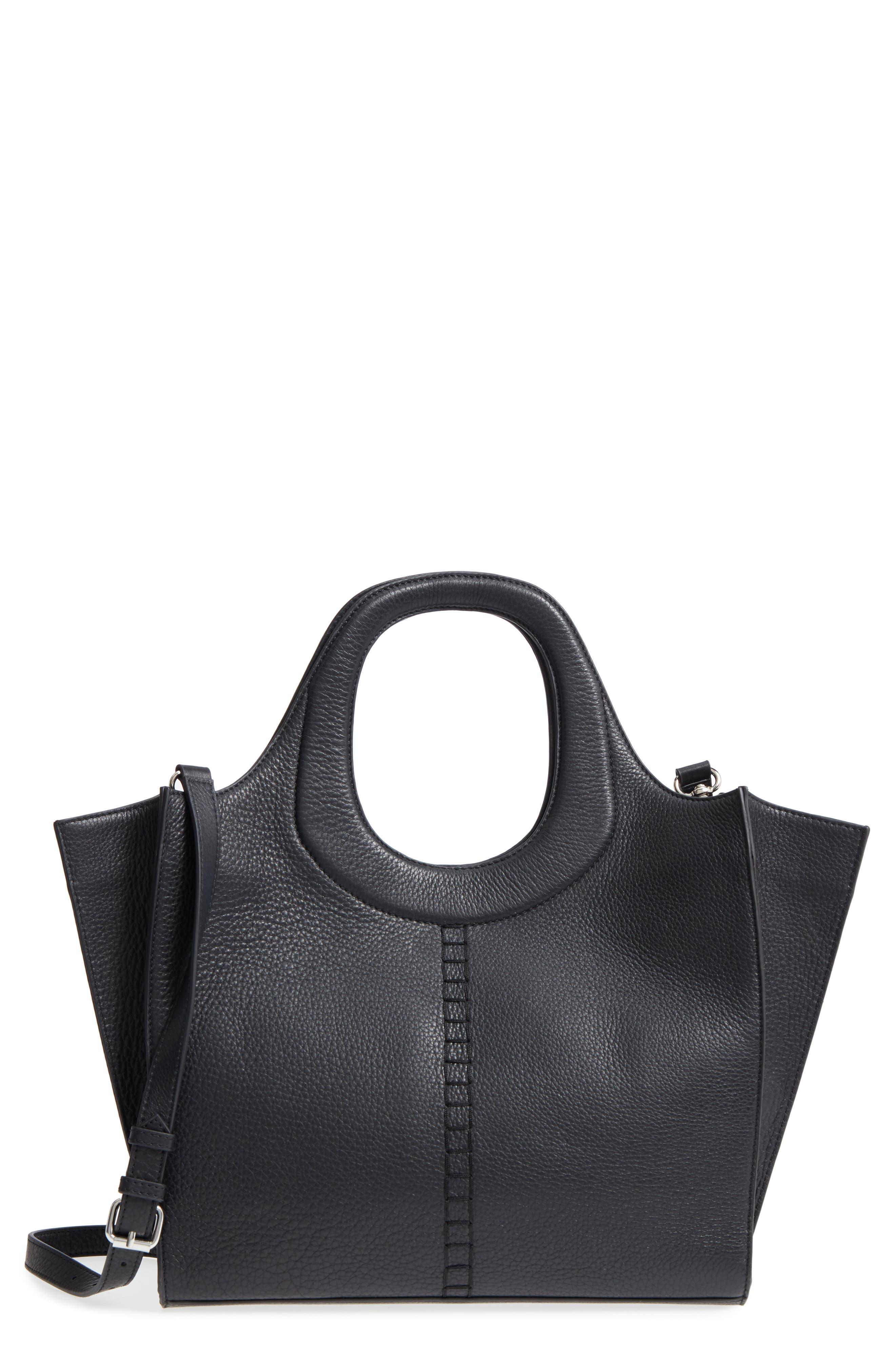 Mallory Leather Hobo,                         Main,                         color, Black